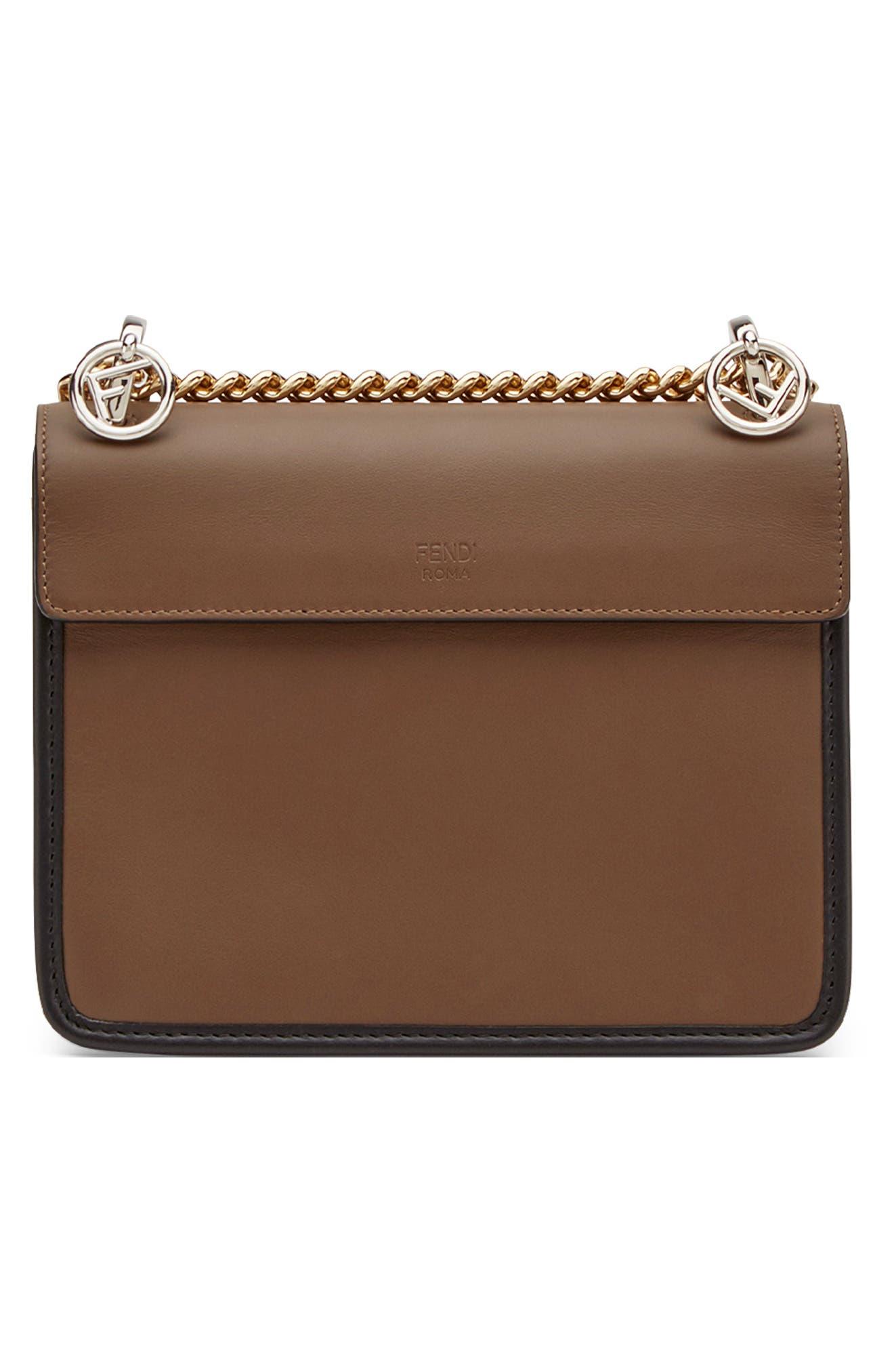 FENDI,                             Small Kan I Logo Embossed Leather Shoulder Bag,                             Alternate thumbnail 2, color,                             MAYA/ NERO