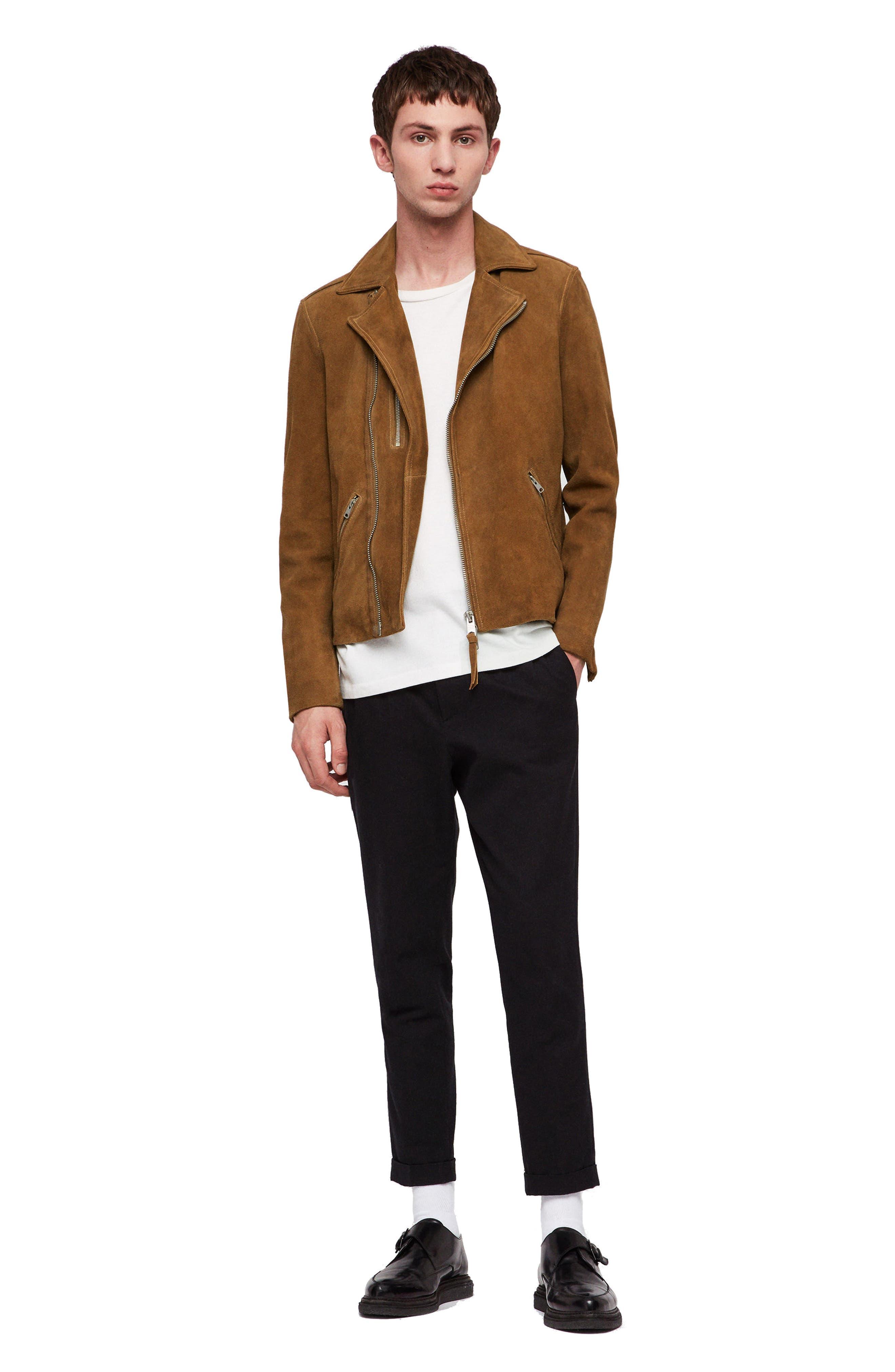 Judd Slim Fit Leather Biker Jacket,                             Alternate thumbnail 7, color,                             219