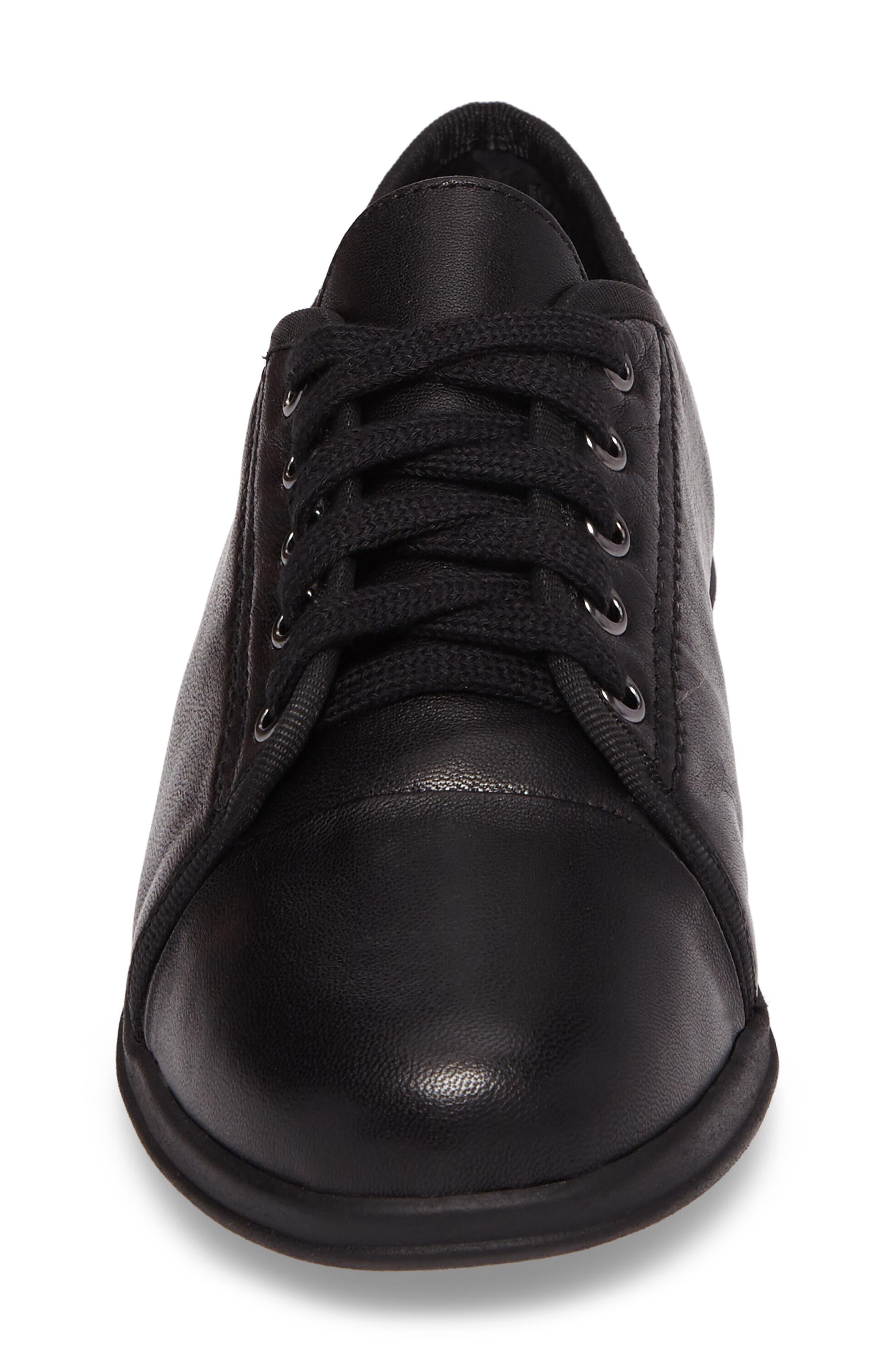 Siren Sneaker,                             Alternate thumbnail 4, color,                             BLACK LEATHER