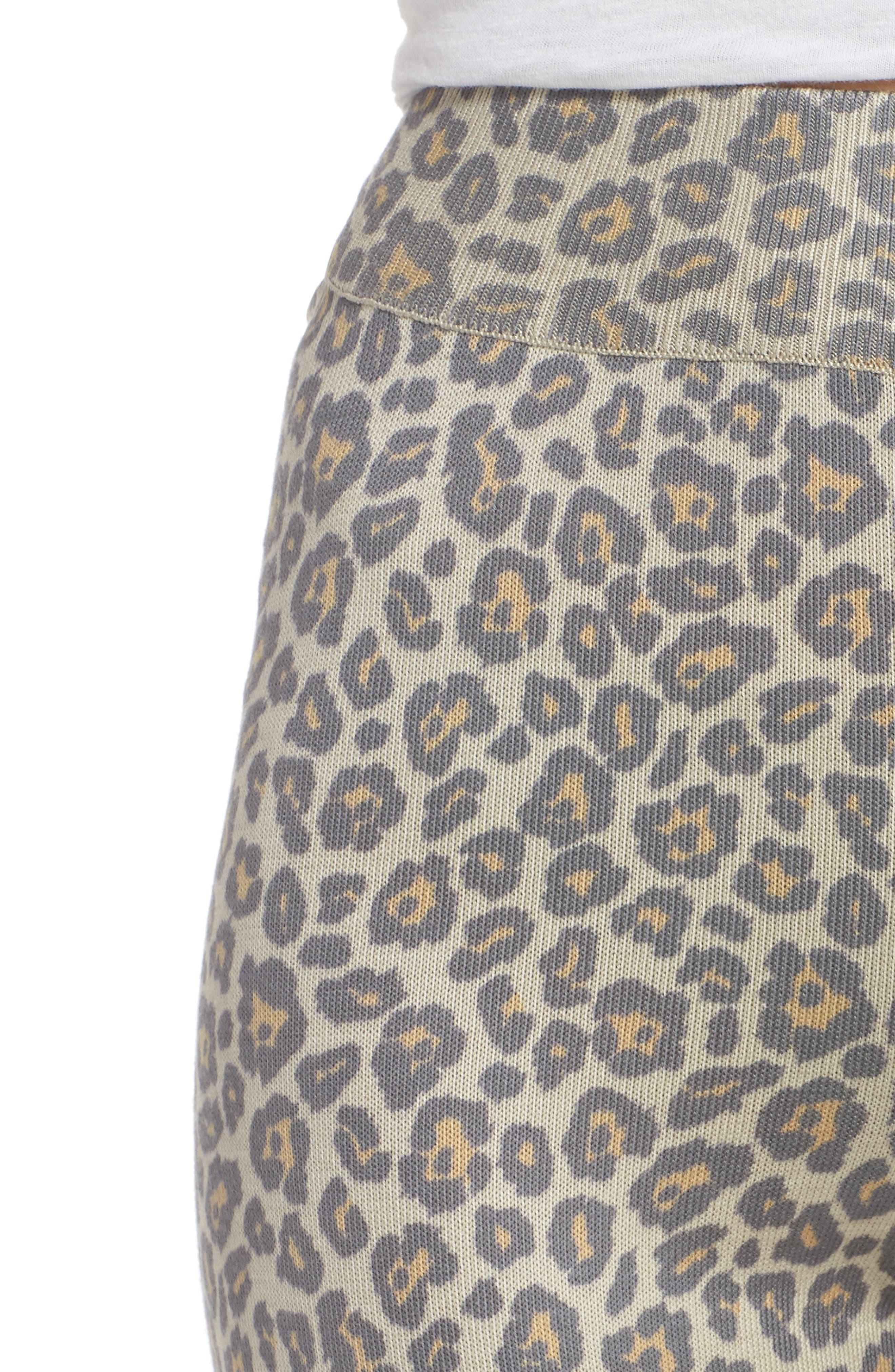 Leopard Knit Lounge Pant,                             Alternate thumbnail 4, color,                             BEIGE LEOPARD
