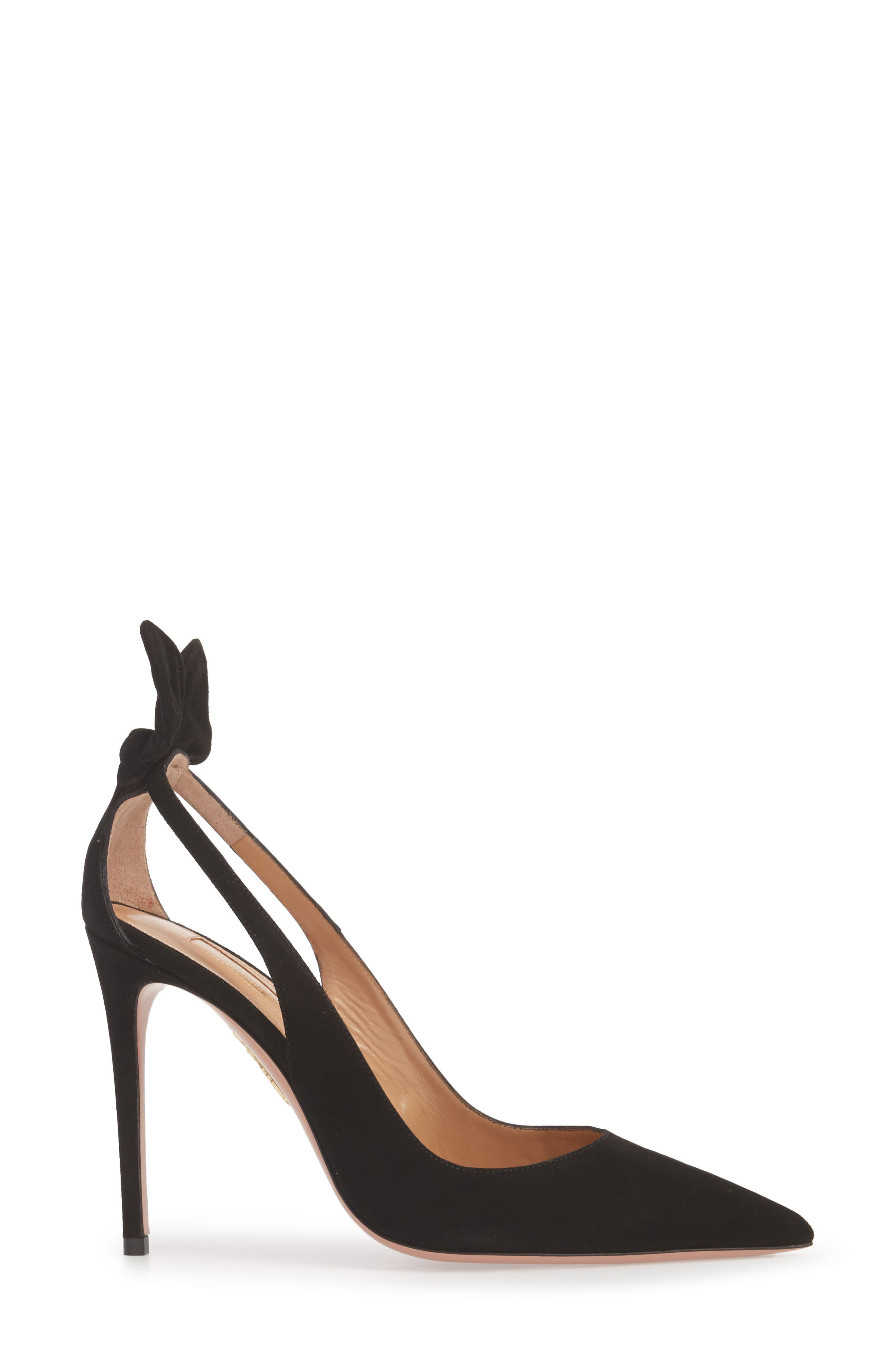 Deneuve Bow Pointy Toe Pump,                             Alternate thumbnail 3, color,                             BLACK