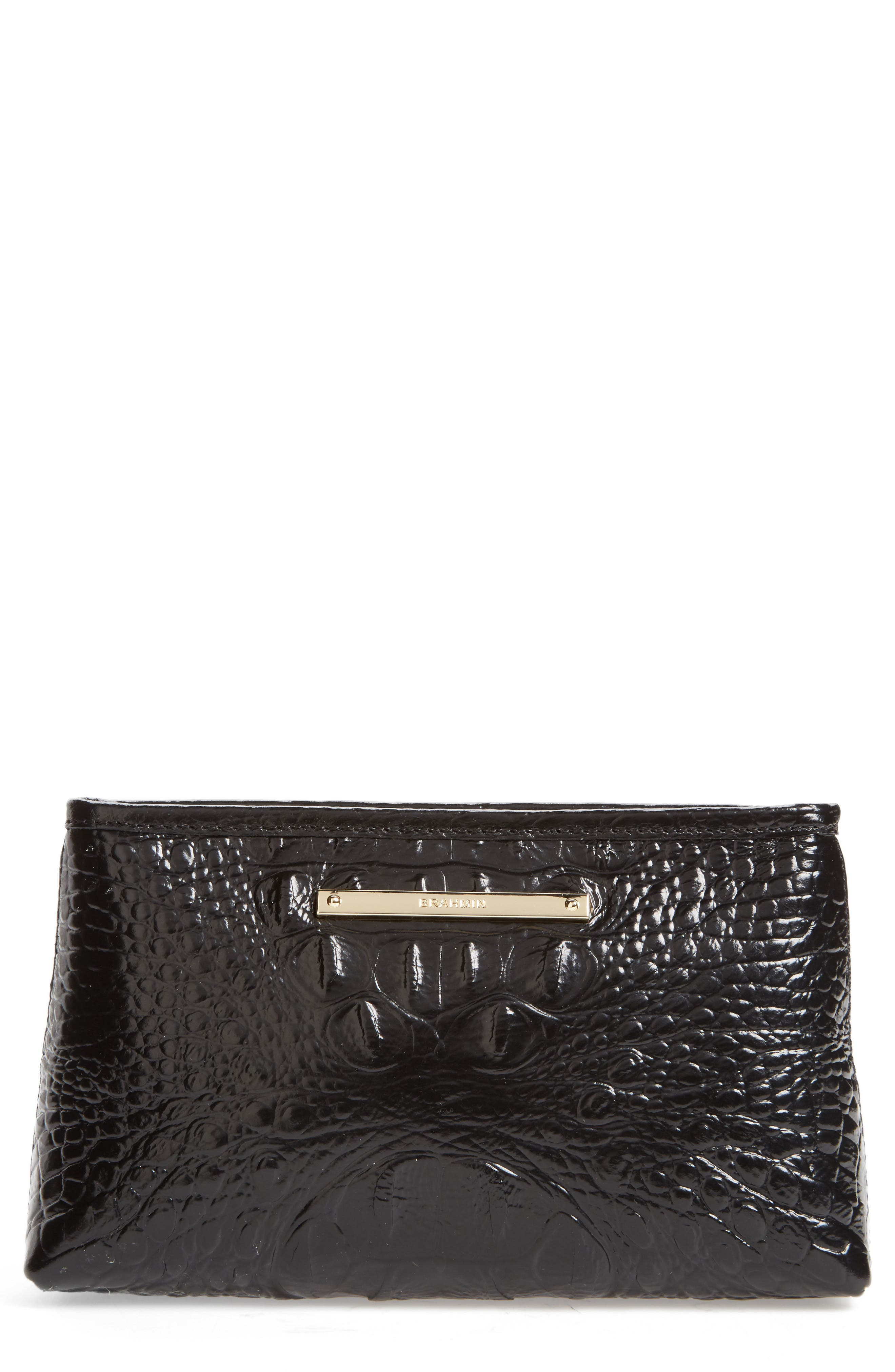 Marney Croc Embossed Zip Pouch,                             Main thumbnail 1, color,                             001