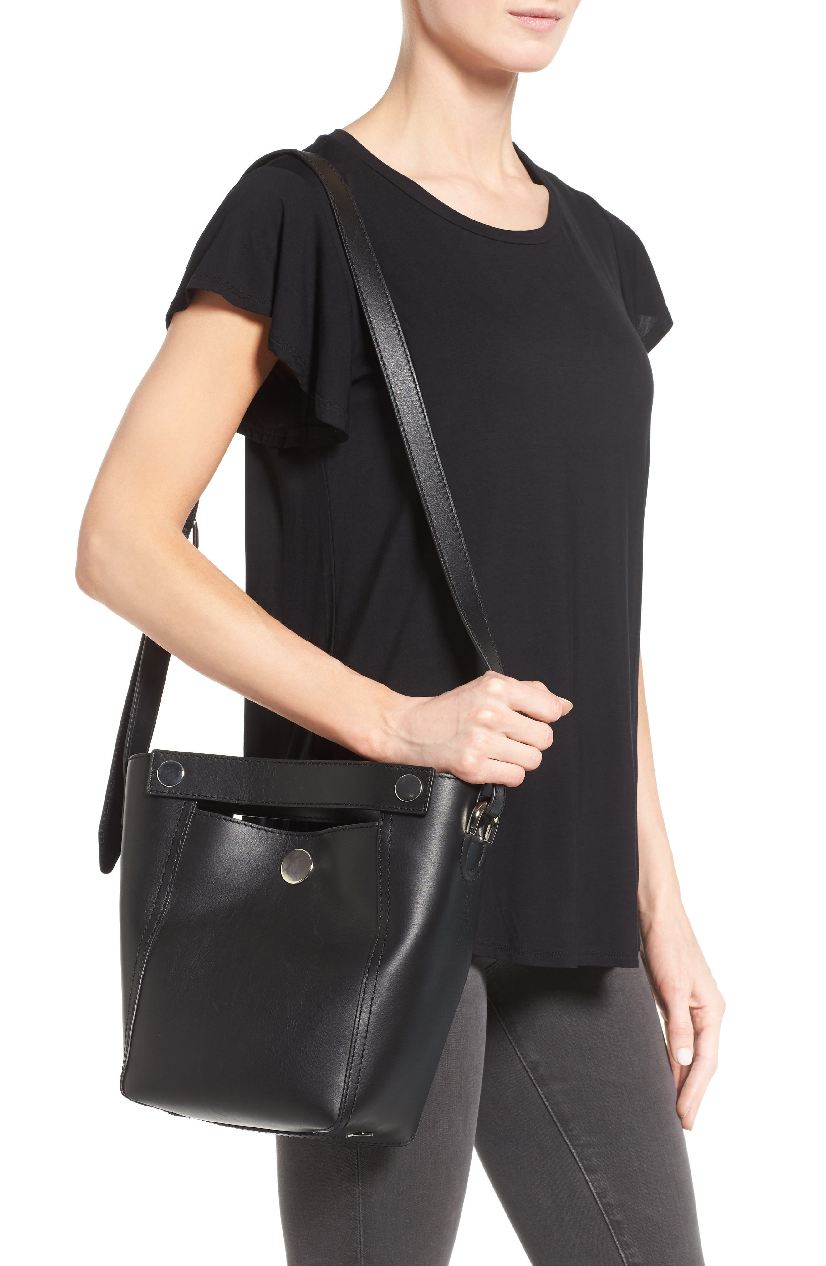 Small Dolly Leather Tote,                             Alternate thumbnail 2, color,                             001