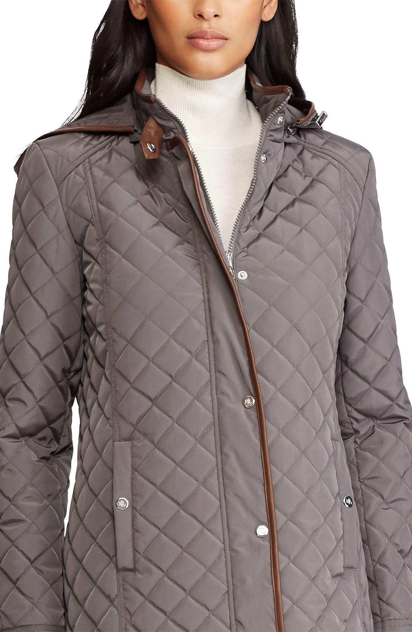 Quilted Hooded Coat,                             Alternate thumbnail 3, color,                             FLANNEL