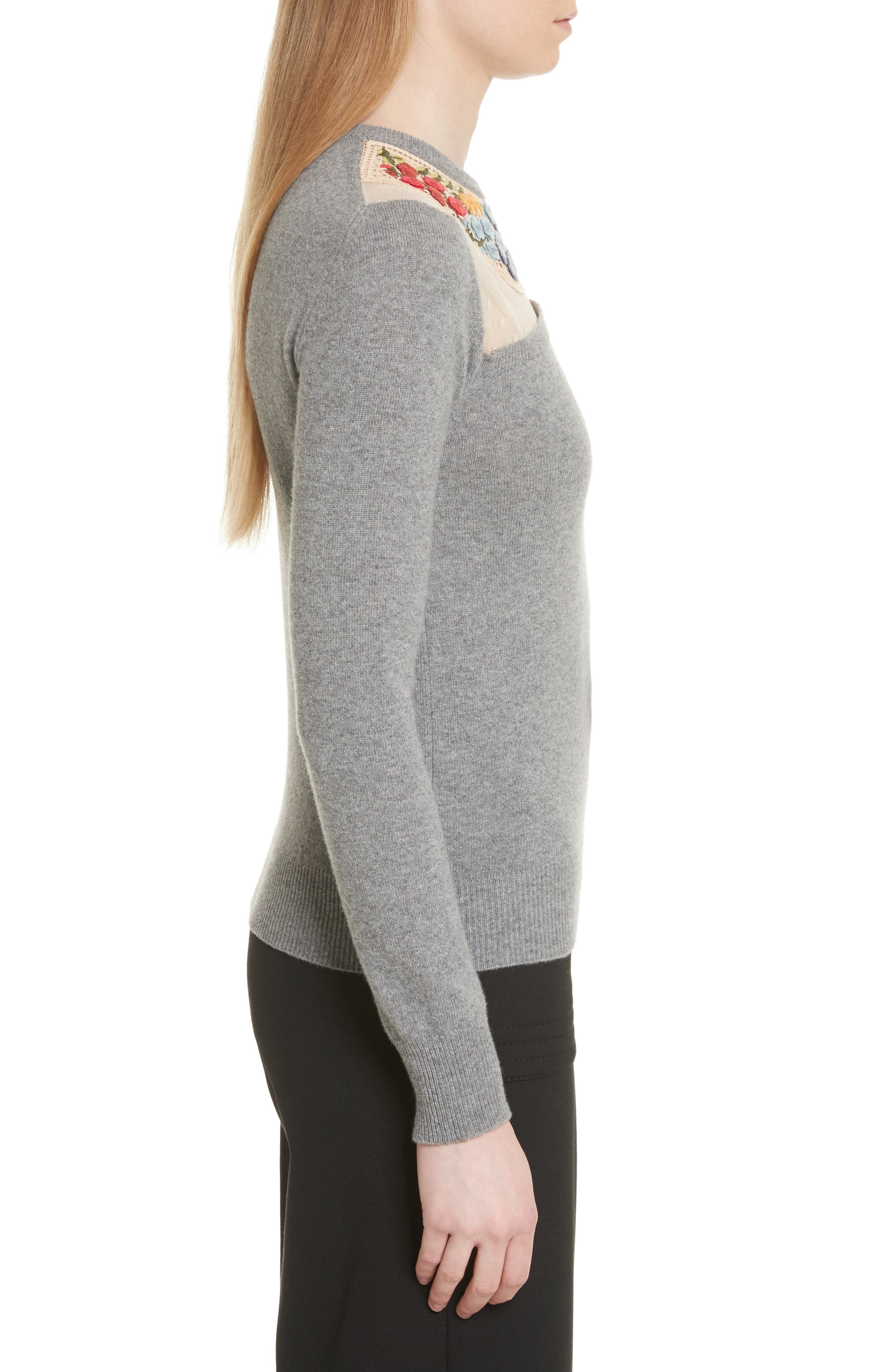 Macramé & Floral Embellished Wool Sweater,                             Alternate thumbnail 3, color,                             030