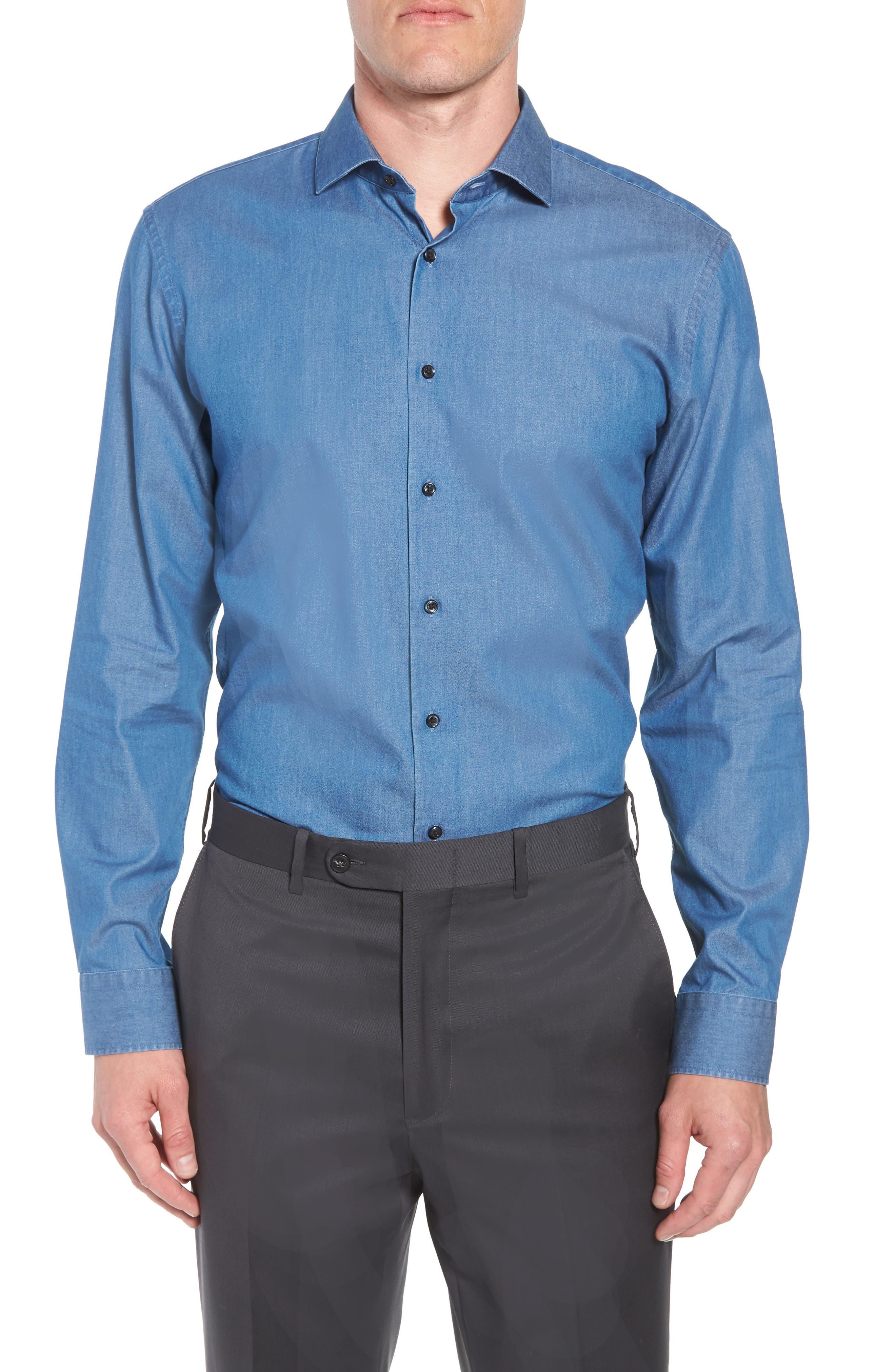 Trim Fit Solid Denim Dress Shirt,                             Main thumbnail 1, color,                             BLUE DENIM