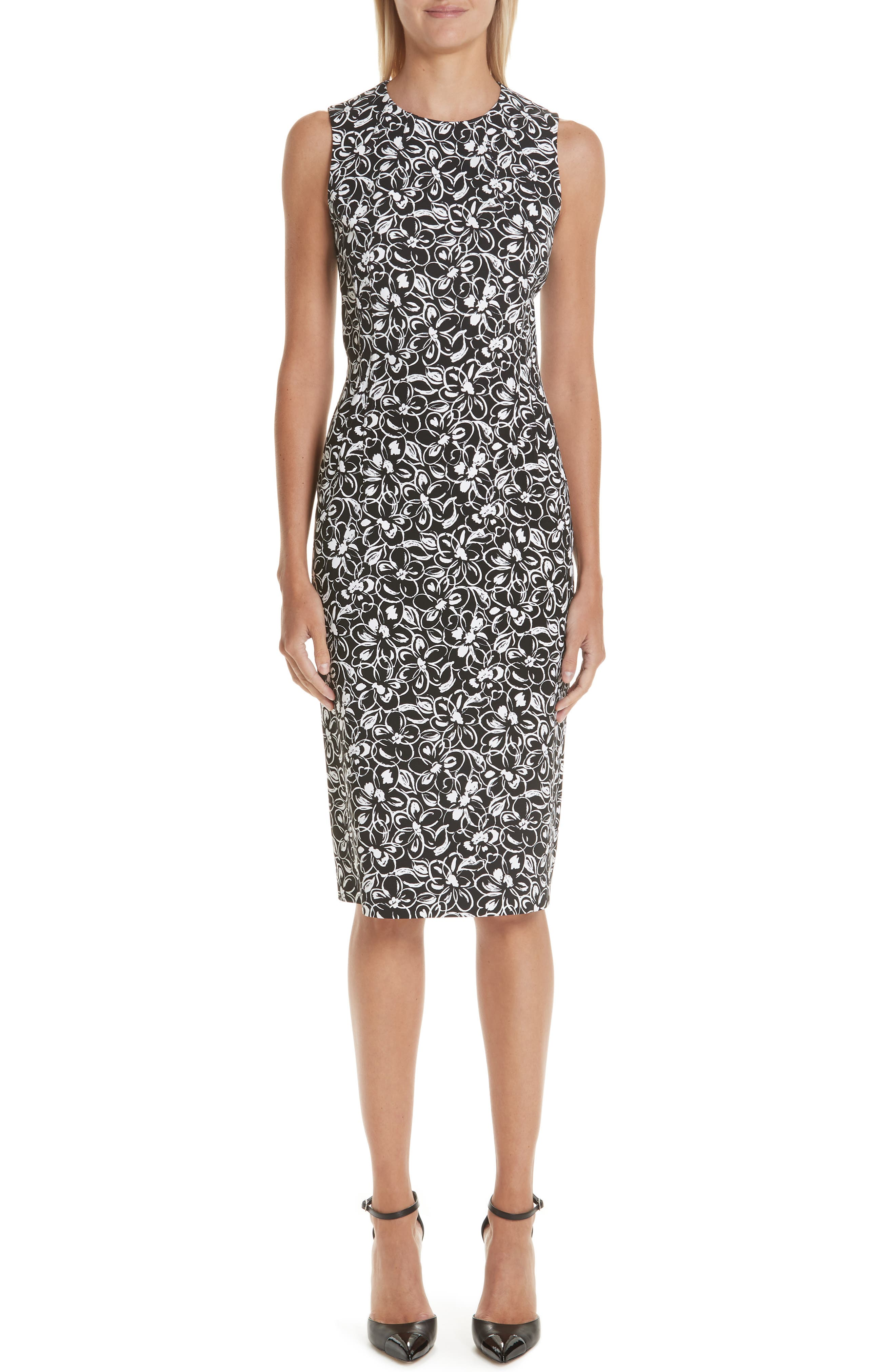 Michael Kors Painterly Floral Stretch Cady Sheath Dress, Black