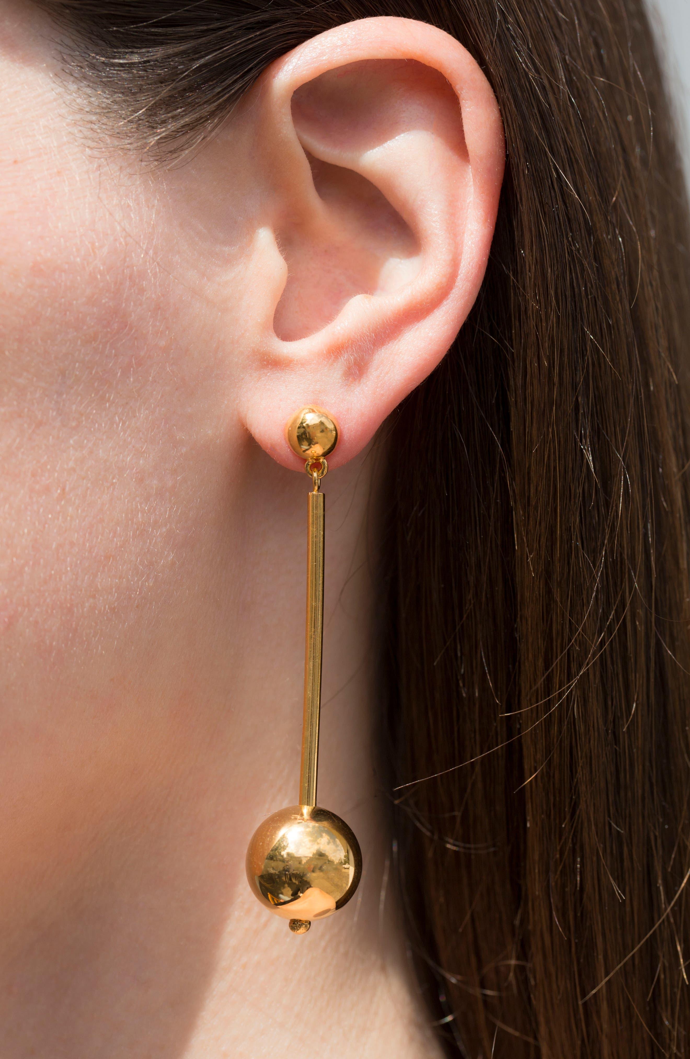 Suzanne Long Vermeil Drop Earrings,                             Alternate thumbnail 3, color,                             GOLD