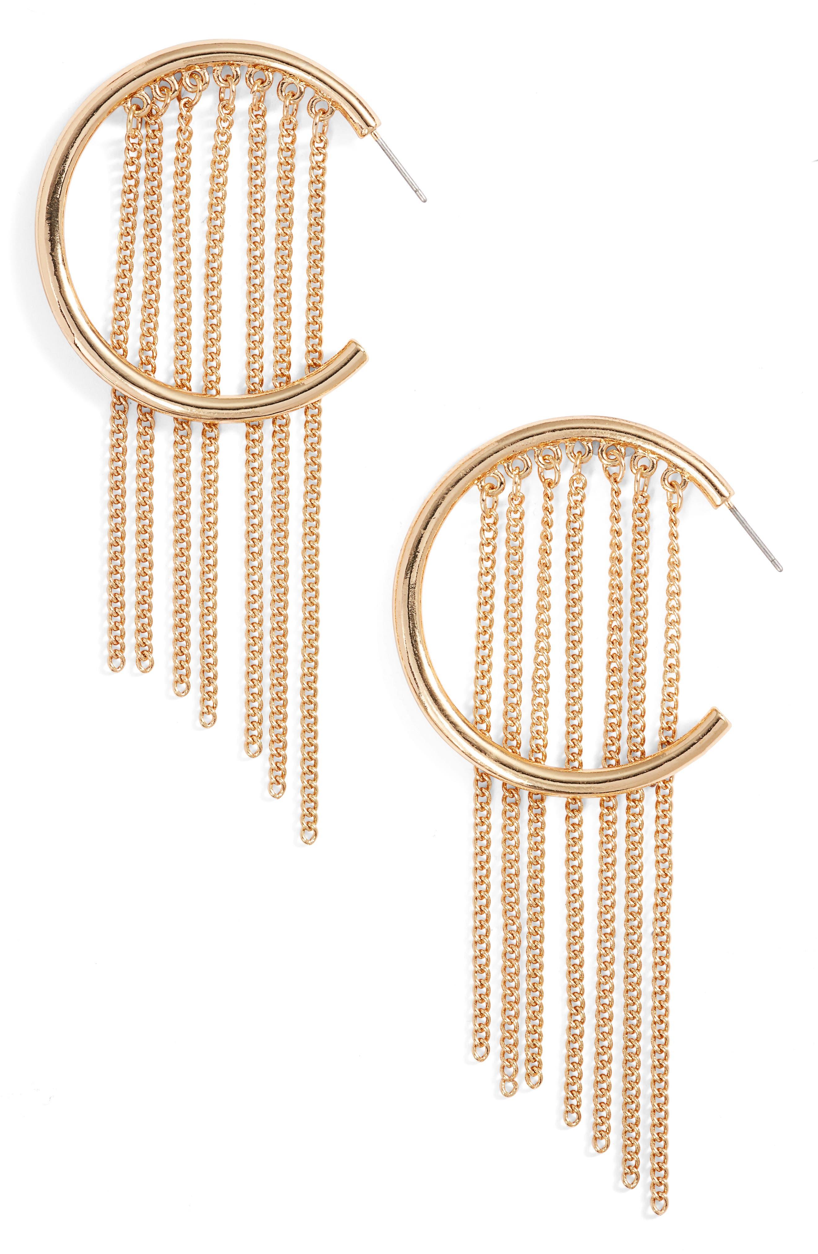 Hoop Chain Fringe Earrings,                             Main thumbnail 1, color,                             710
