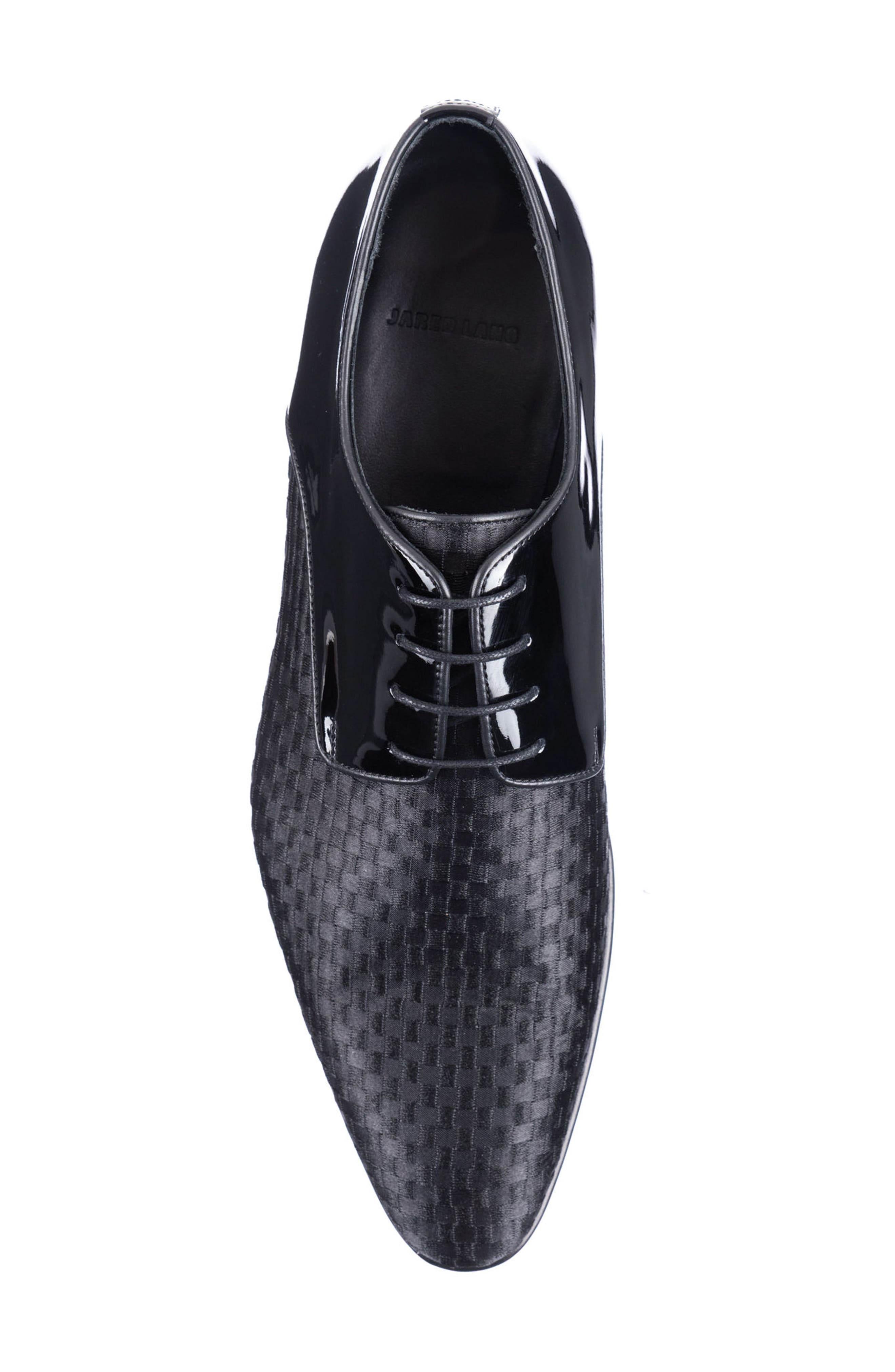 JARED LANG,                             Marco Checkerboard Derby,                             Alternate thumbnail 5, color,                             BLACK LEATHER