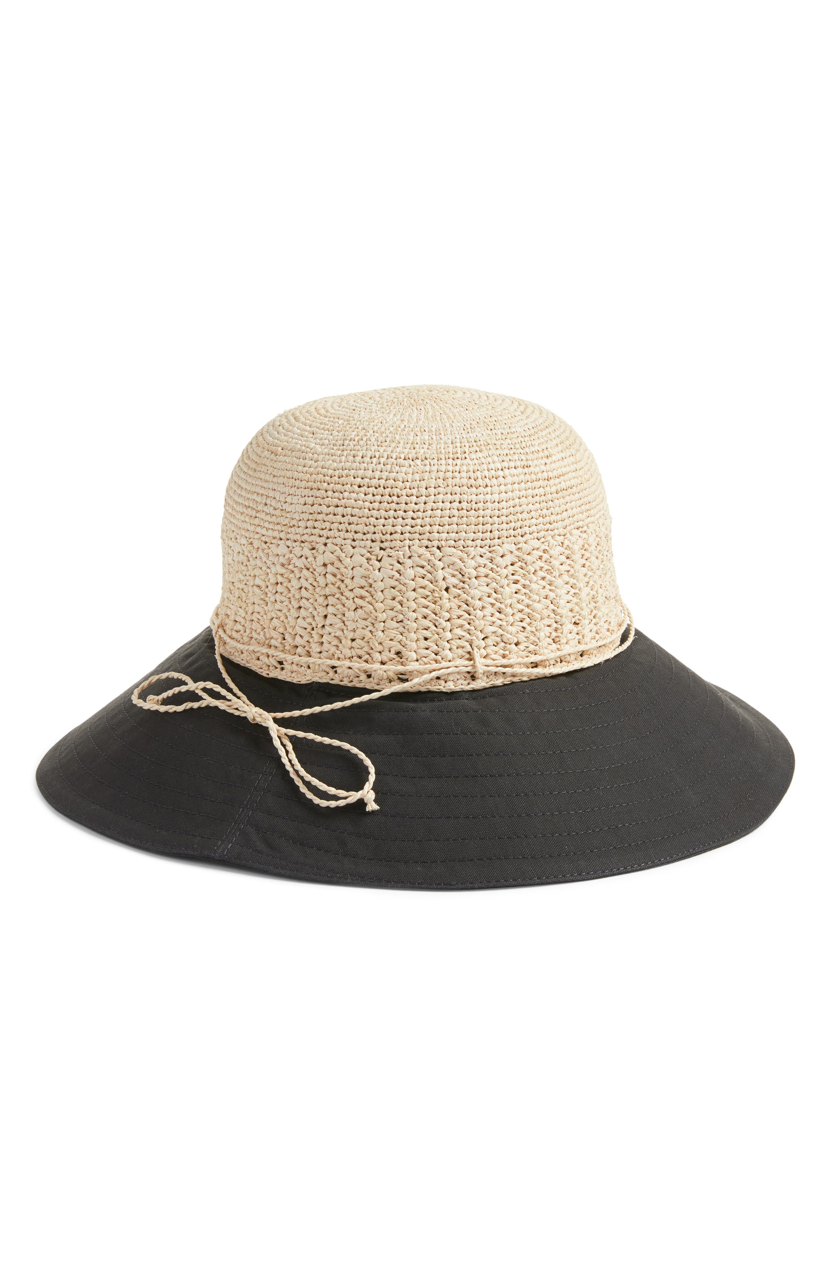Raffia & Canvas Hat,                         Main,                         color, 001