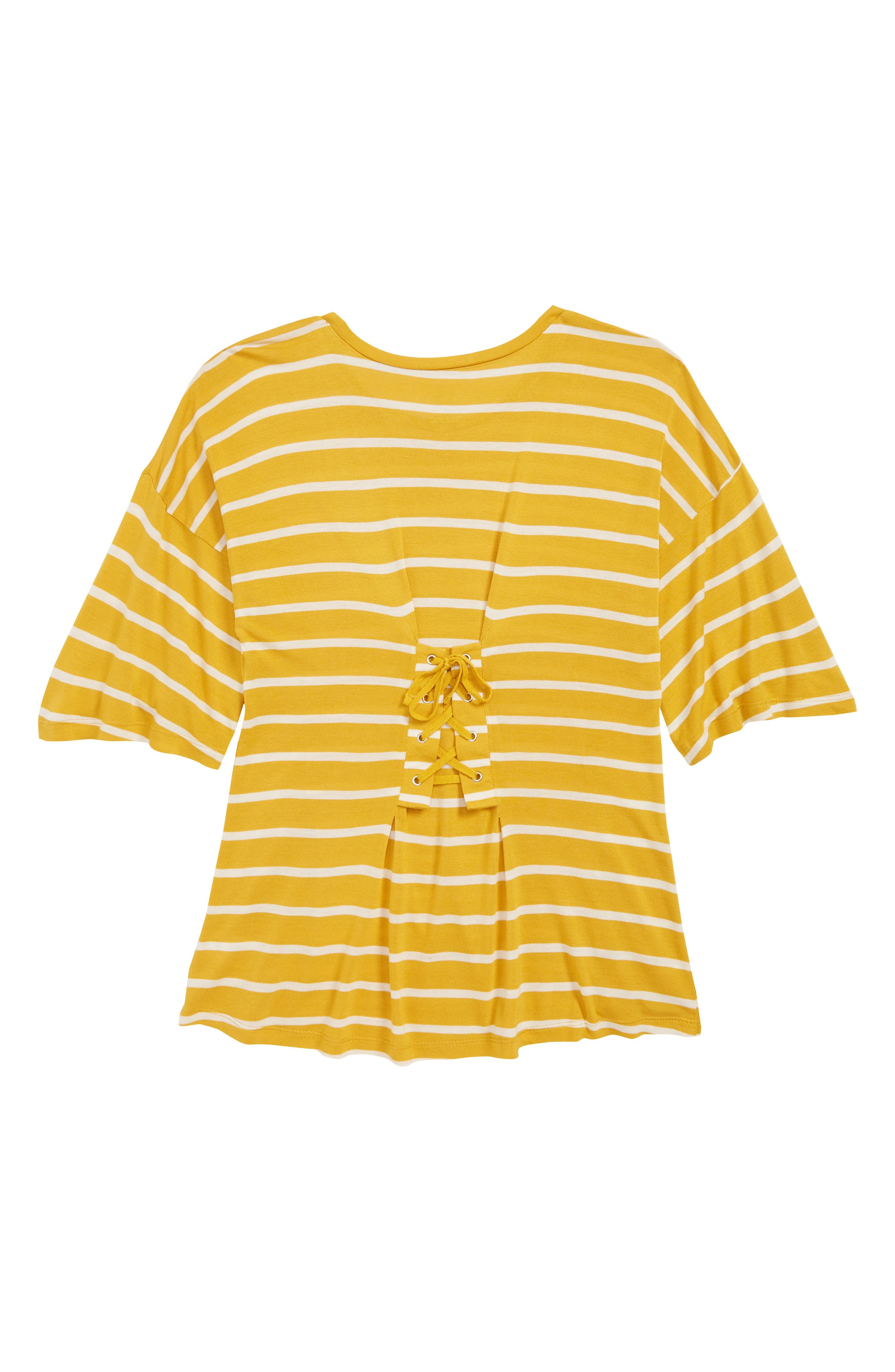 Lace-Up Back Tee,                             Alternate thumbnail 2, color,                             YELLOW MINERAL- IVORY STRIPE