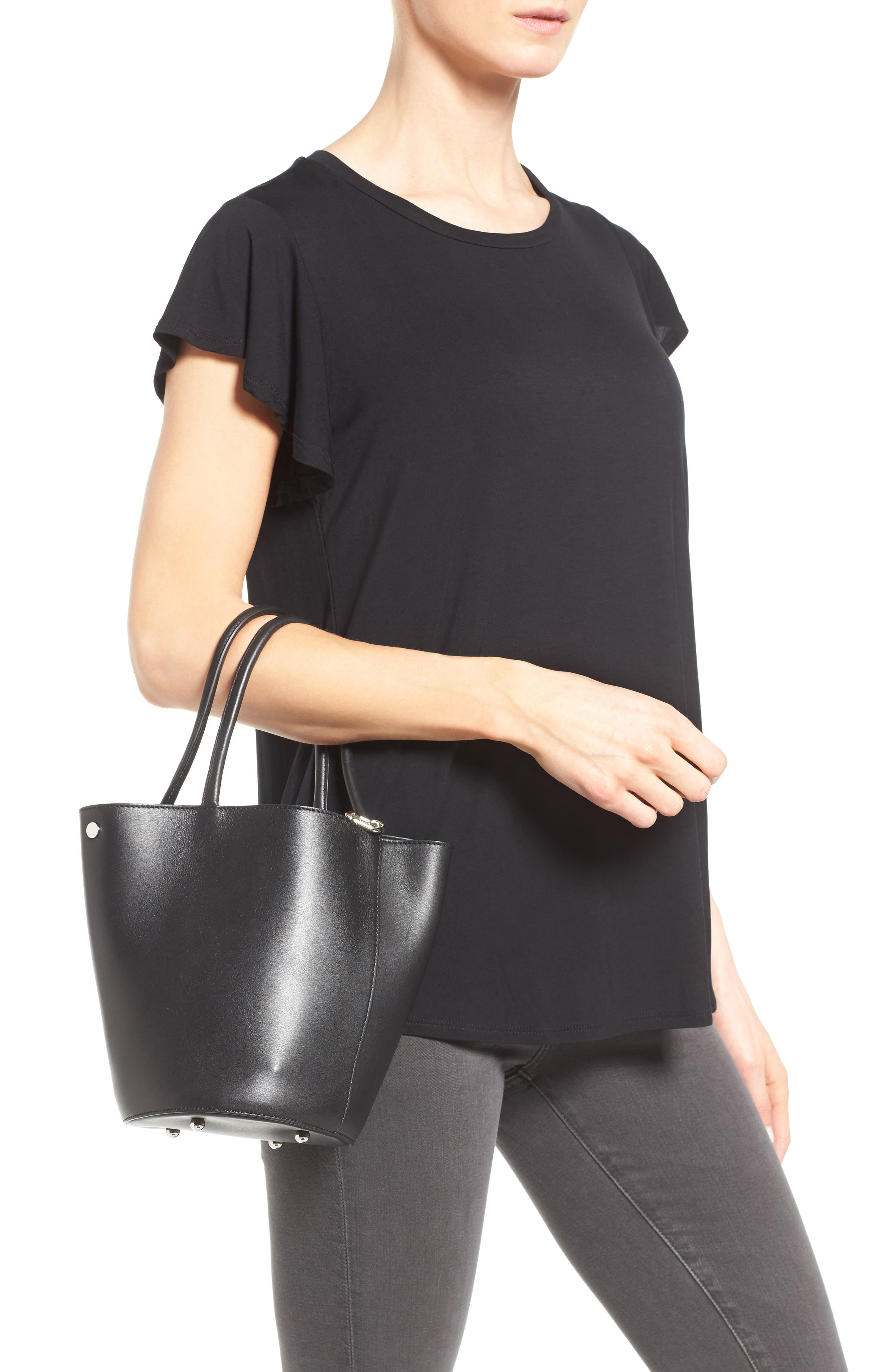 Roxy Leather Bucket Bag,                             Alternate thumbnail 2, color,