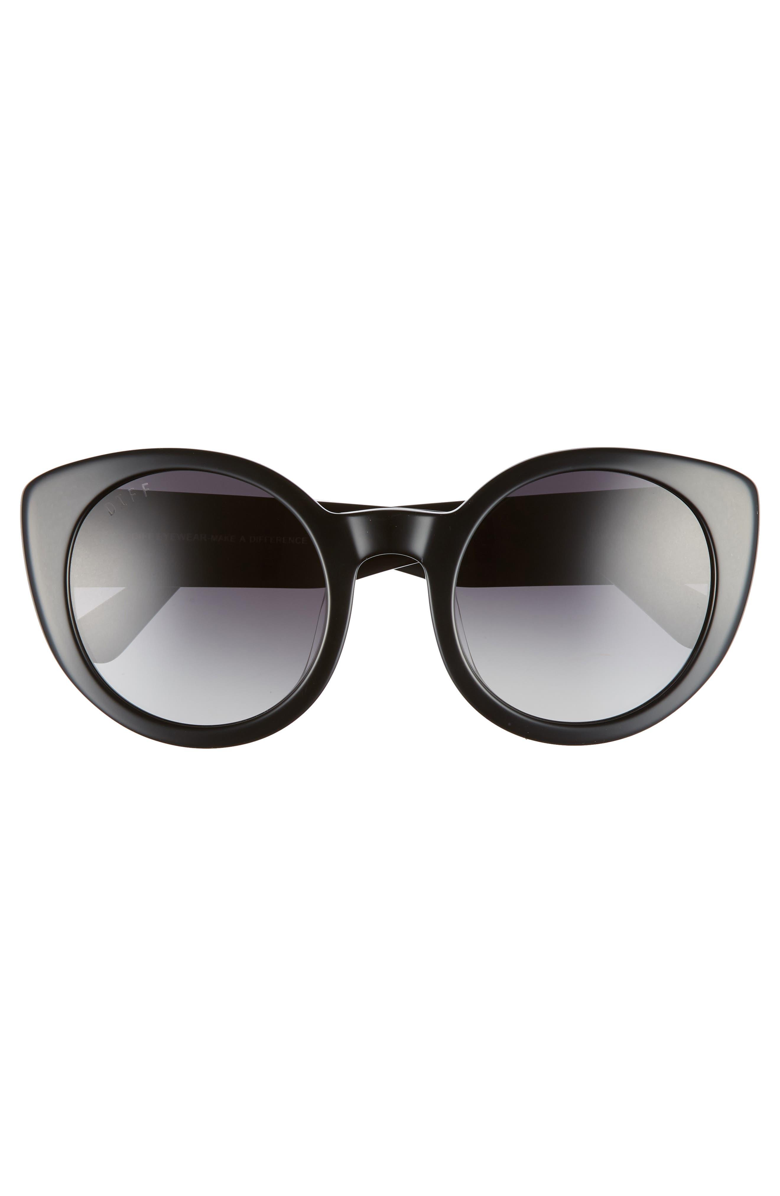 Luna 54mm Polarized Round Sunglasses,                             Alternate thumbnail 3, color,                             BLACK/ GREY