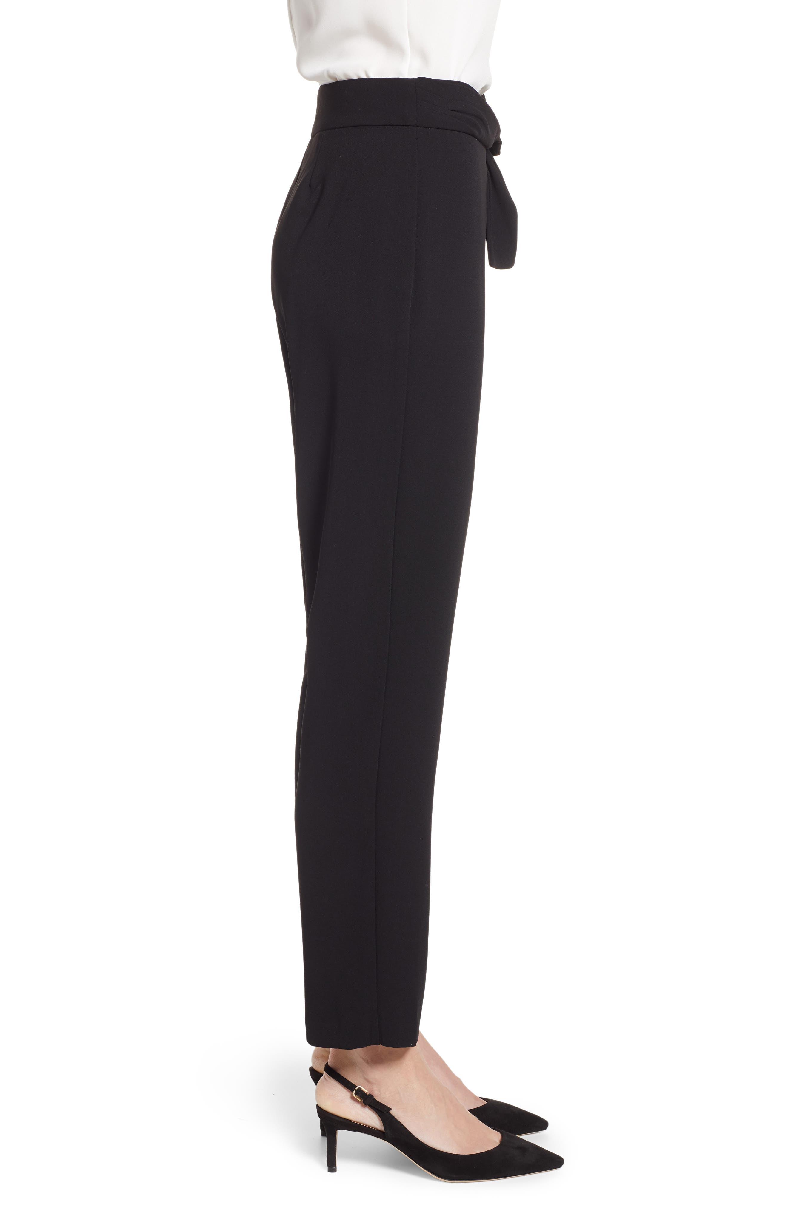 Tie Waist Moss Crepe Pants,                             Alternate thumbnail 3, color,                             RICH BLACK
