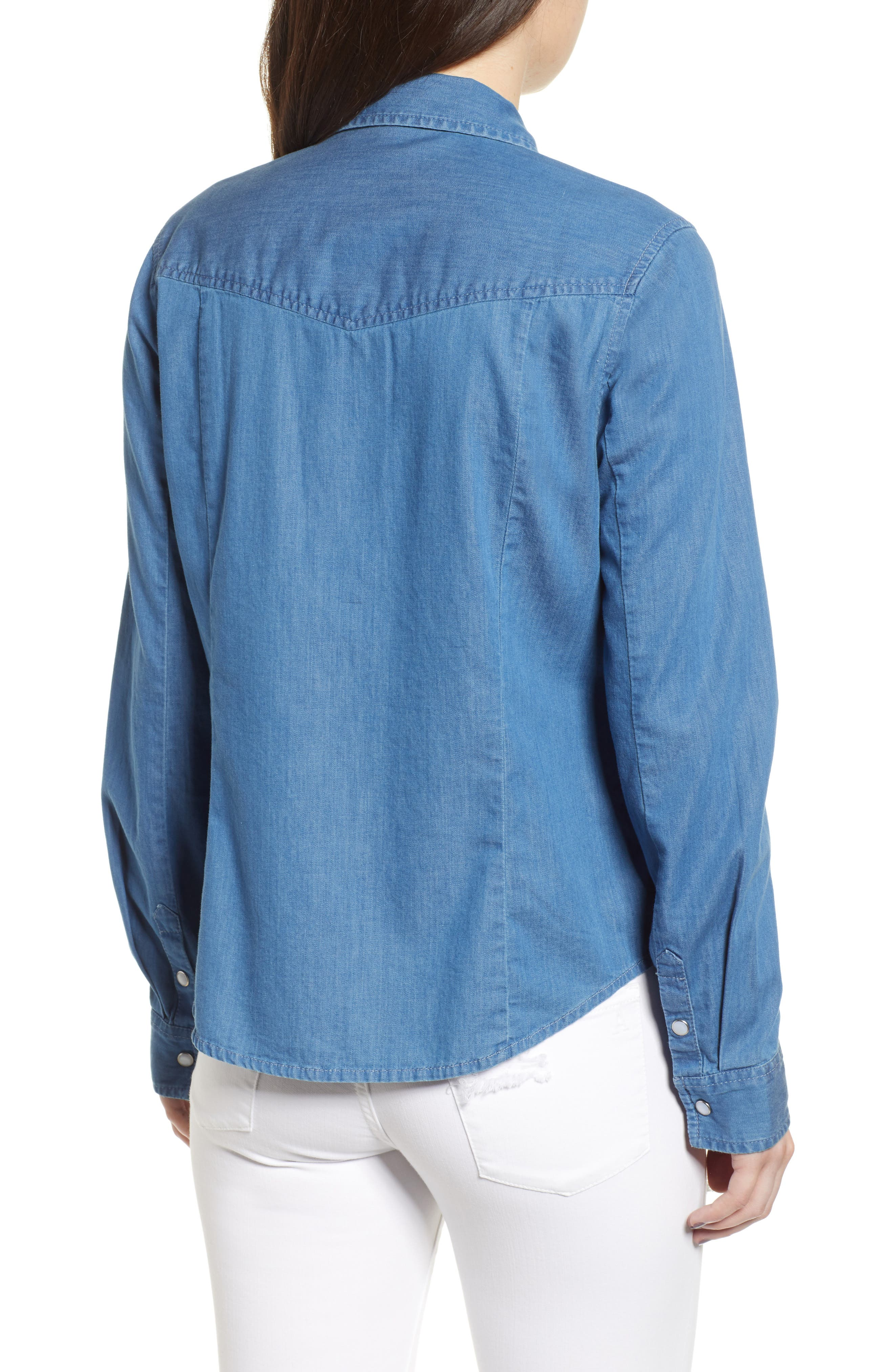 Fitted Chambray Shirt,                             Alternate thumbnail 3, color,                             ROBIN INDIGO