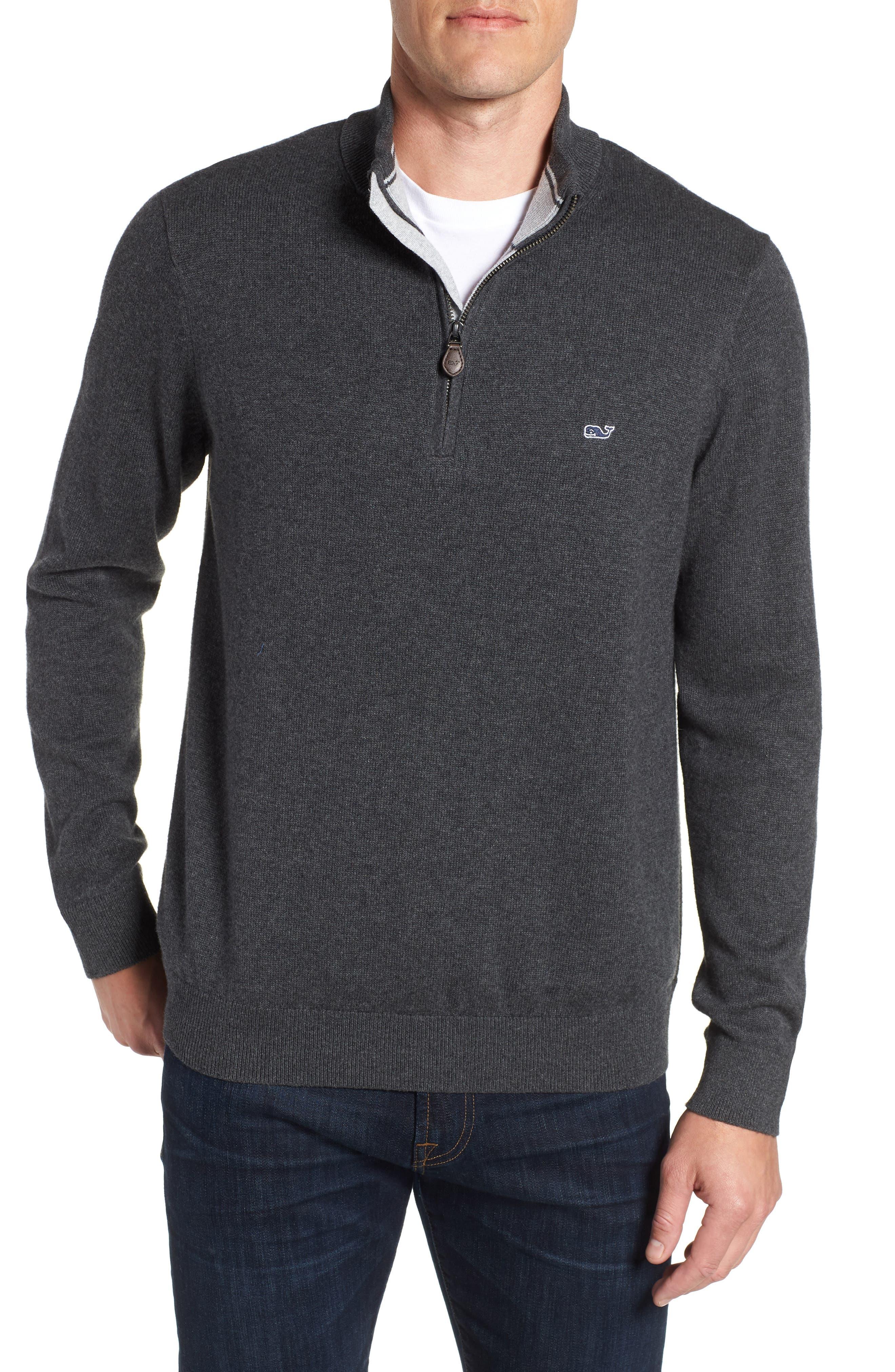 VINEYARD VINES Palm Beach Quarter-Zip Sweater in Charcoal Heather