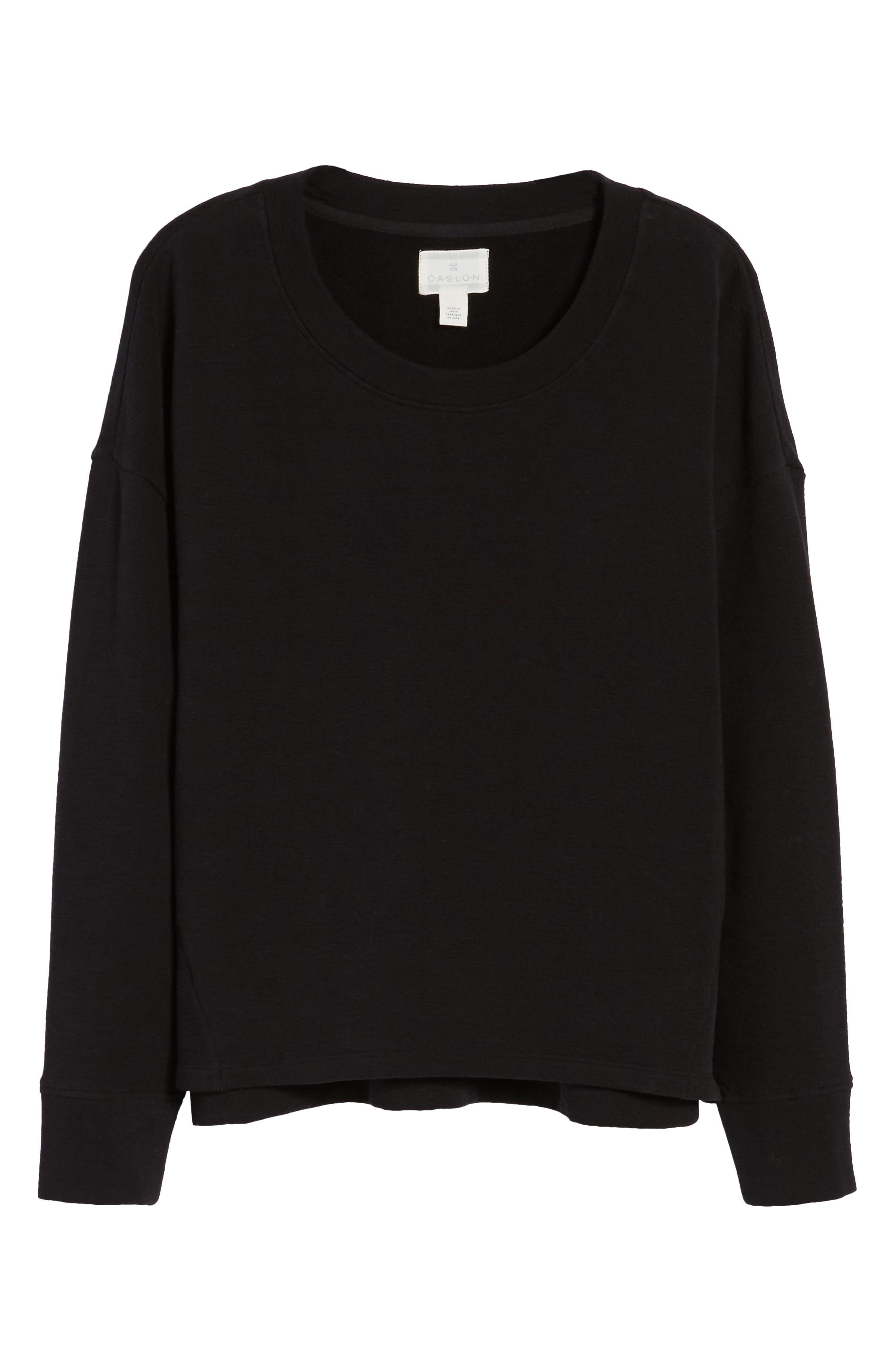CASLON<SUP>®</SUP>,                             Side Slit Relaxed Sweatshirt,                             Alternate thumbnail 6, color,                             BLACK