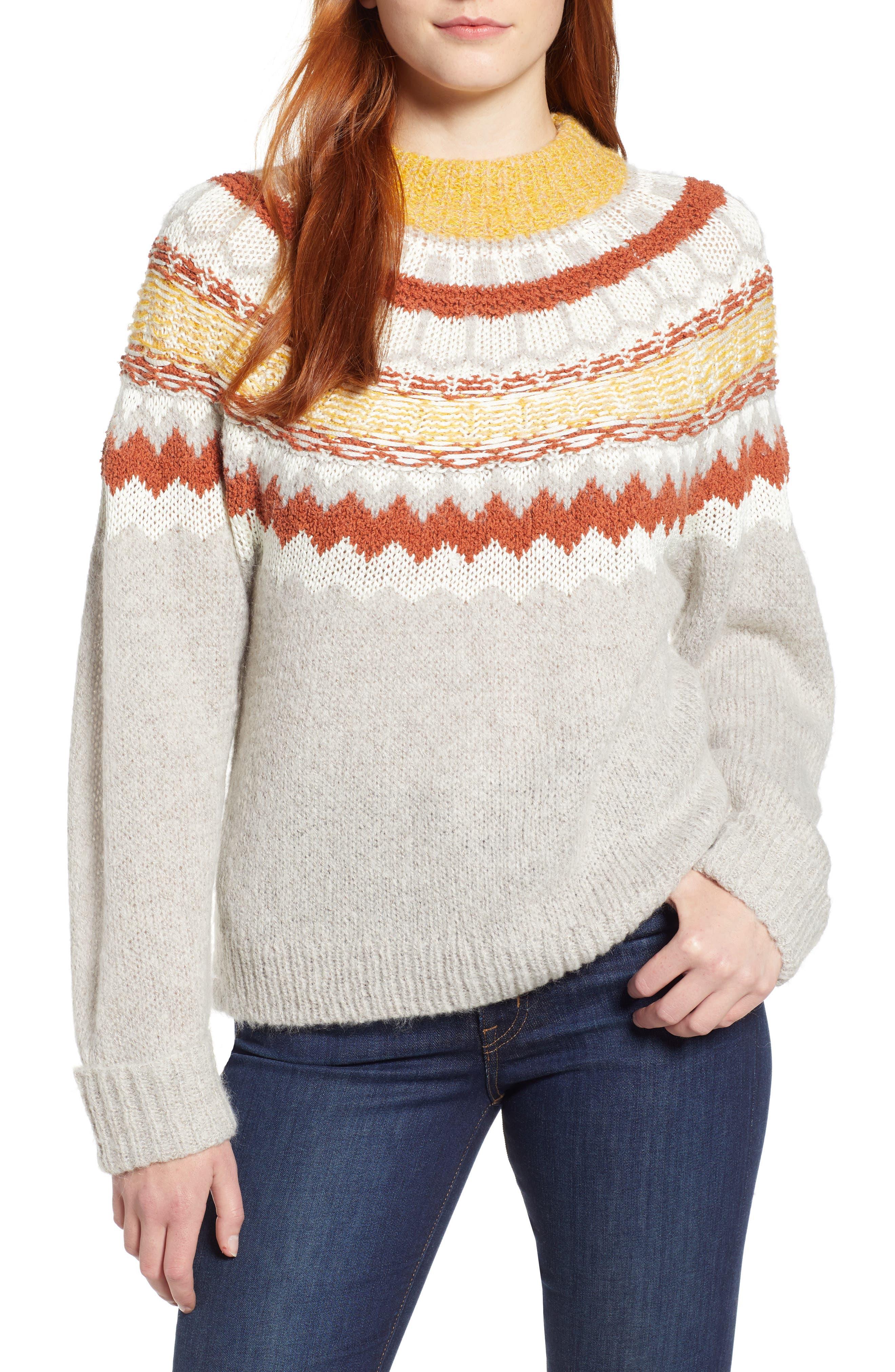Chunky Jacquard Sweater,                             Main thumbnail 1, color,                             TAN FOLIAGE PATTERN