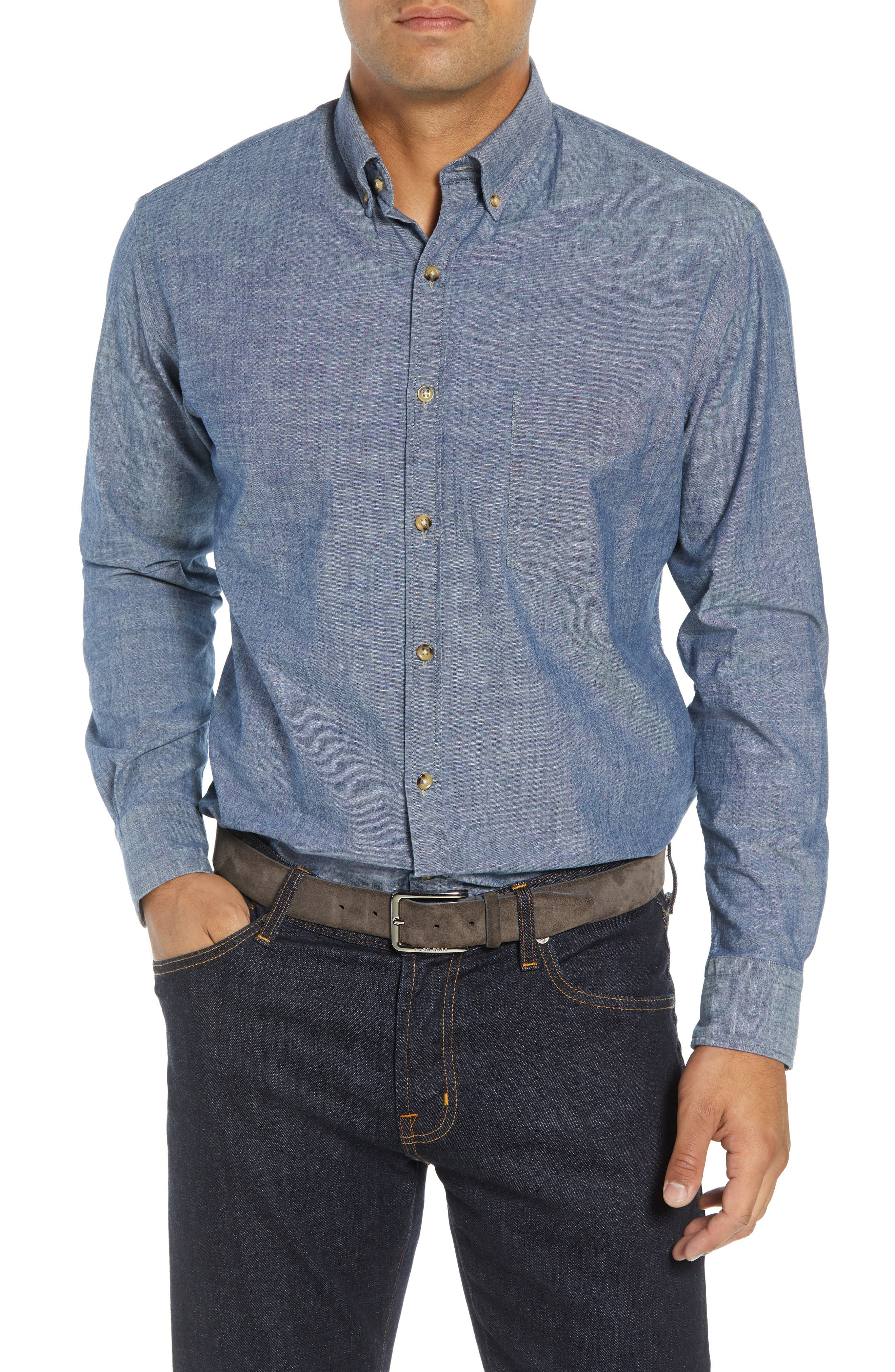 Blue Ridge Regular Fit Indigo Sport Shirt,                             Main thumbnail 1, color,                             INDIGO