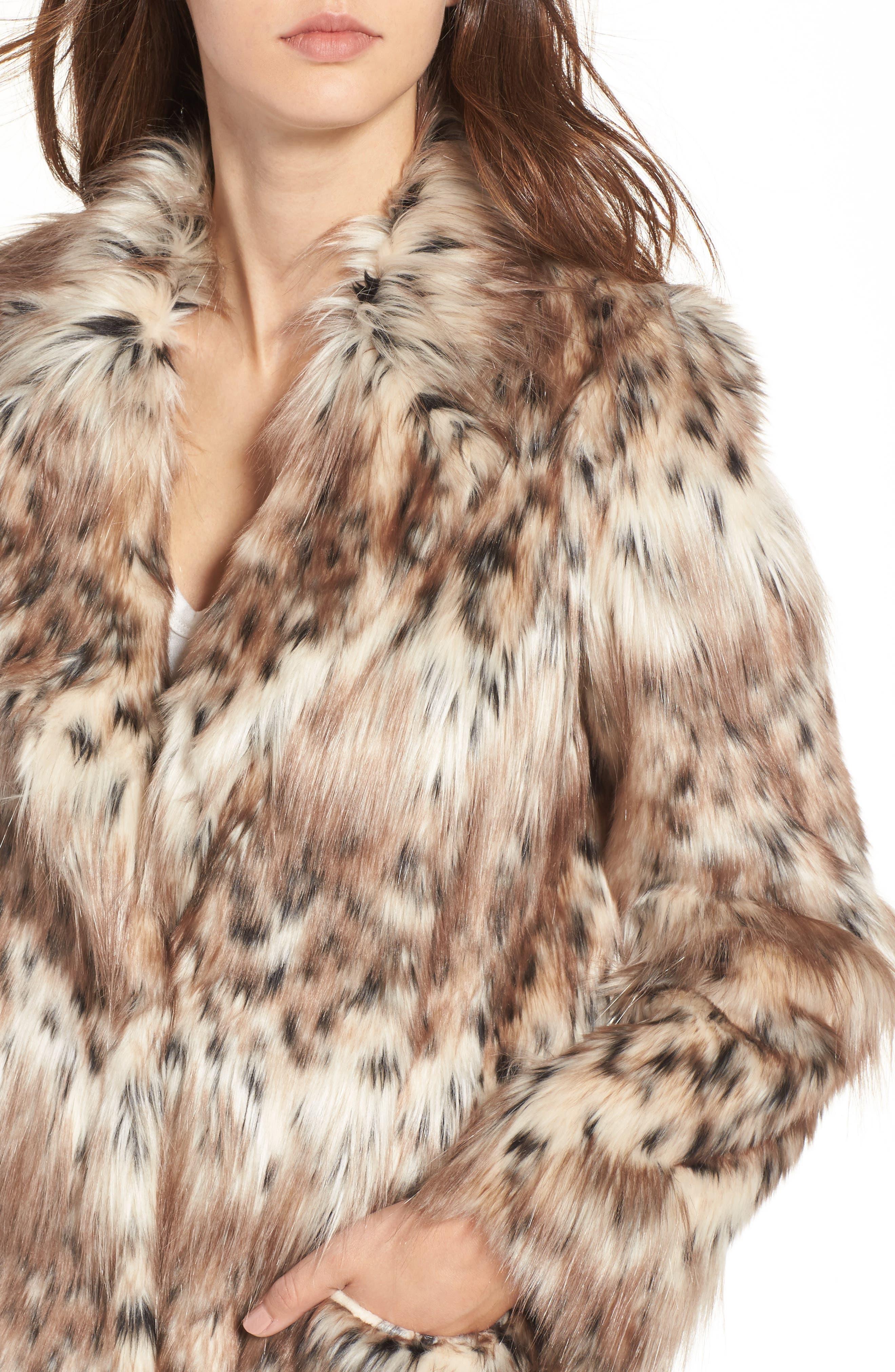 Stella Faux Fur Coat,                             Alternate thumbnail 4, color,                             250
