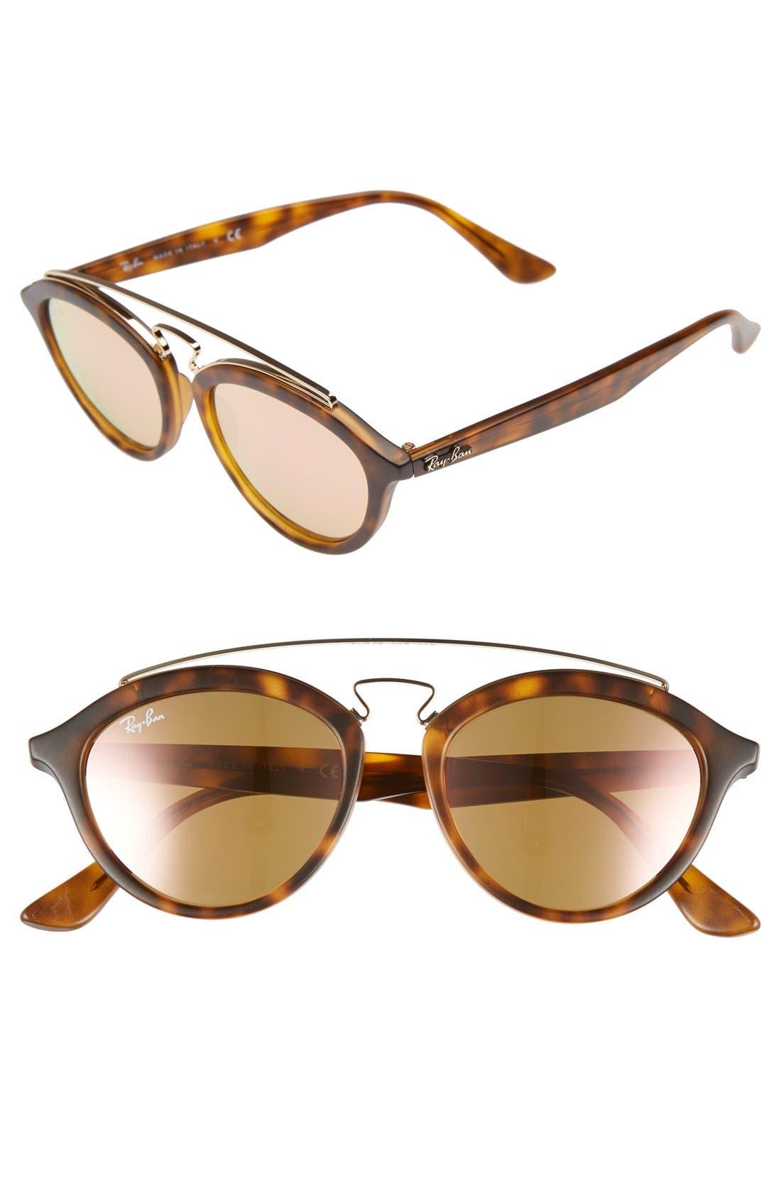 Highstreet 50mm Brow Bar Sunglasses,                             Main thumbnail 6, color,