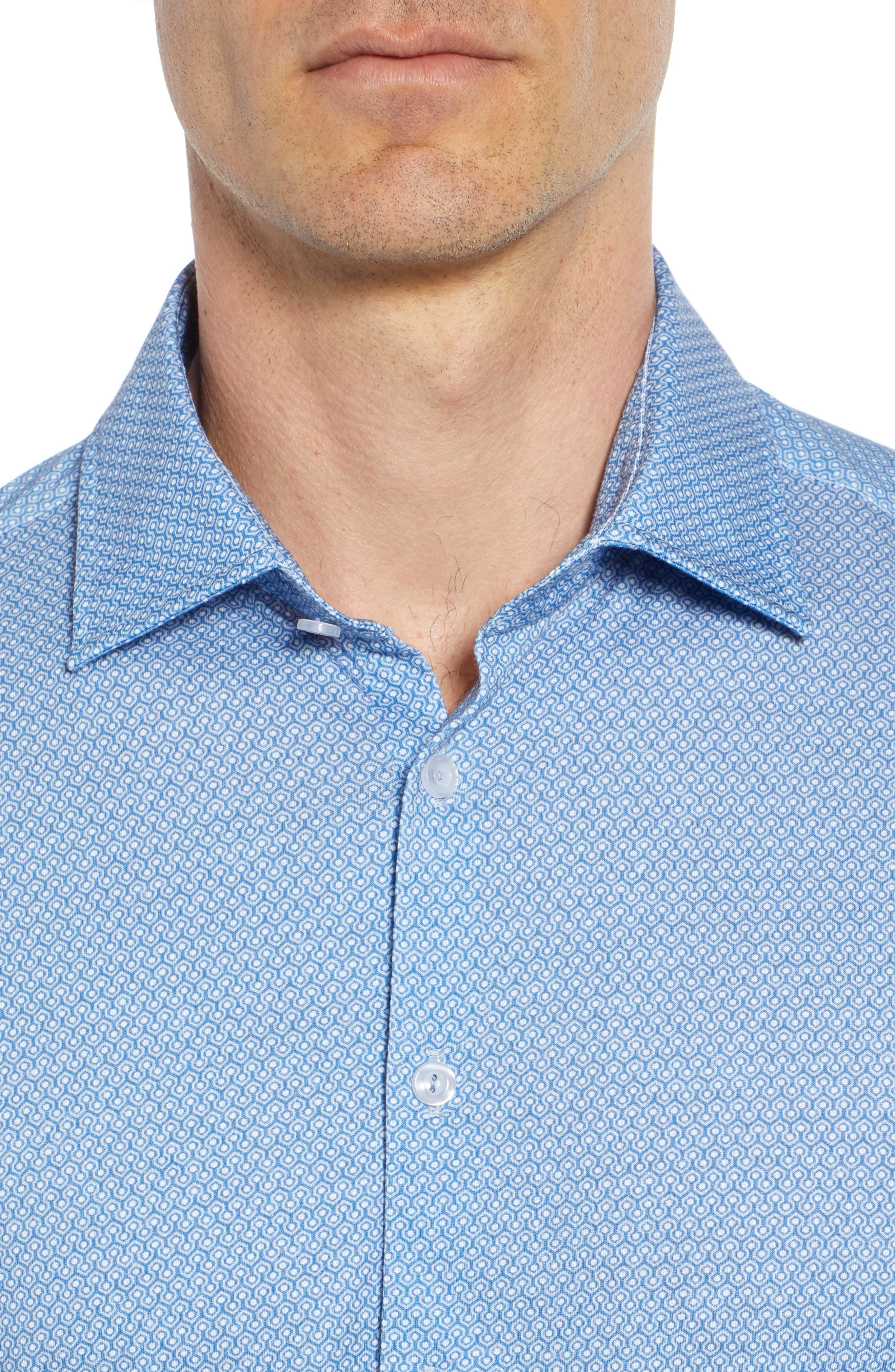 Honeycomb Print Knit Sport Shirt,                             Alternate thumbnail 7, color,