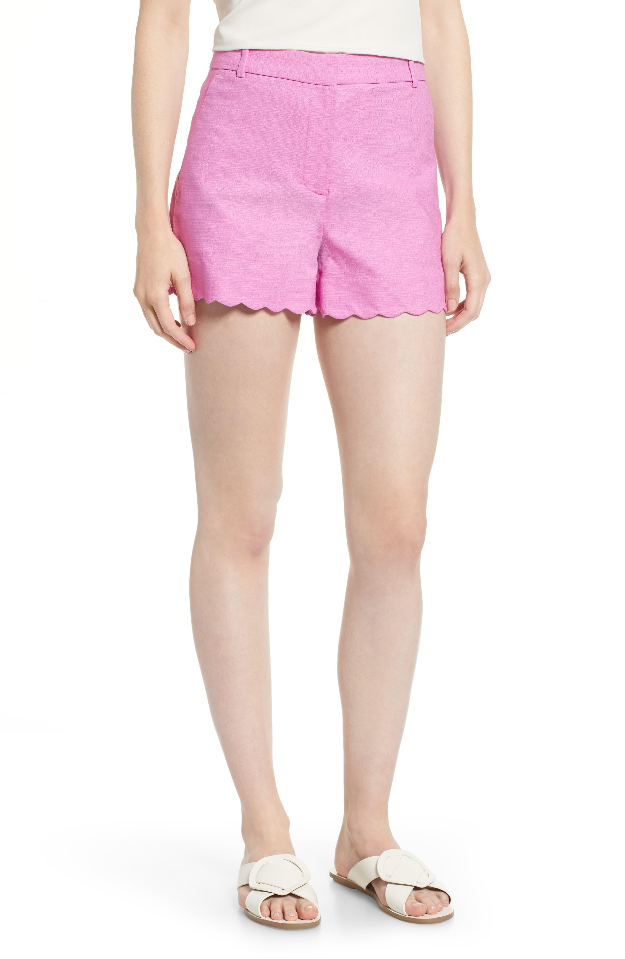 Fiesta Scallop Hem Stretch Cotton Shorts,                             Main thumbnail 5, color,
