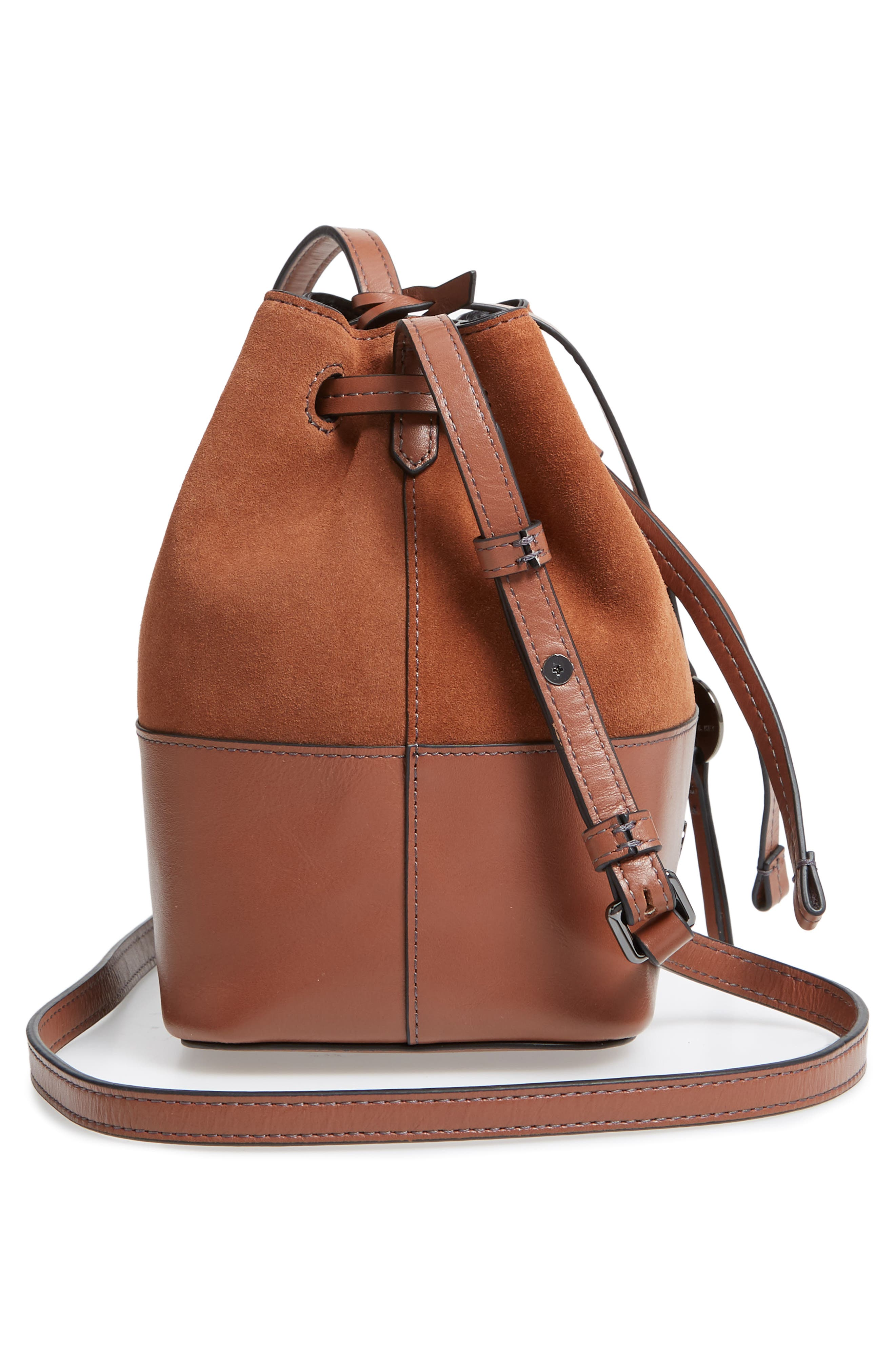 Small Blake RFID Leather Bucket Bag,                             Alternate thumbnail 5, color,                             202