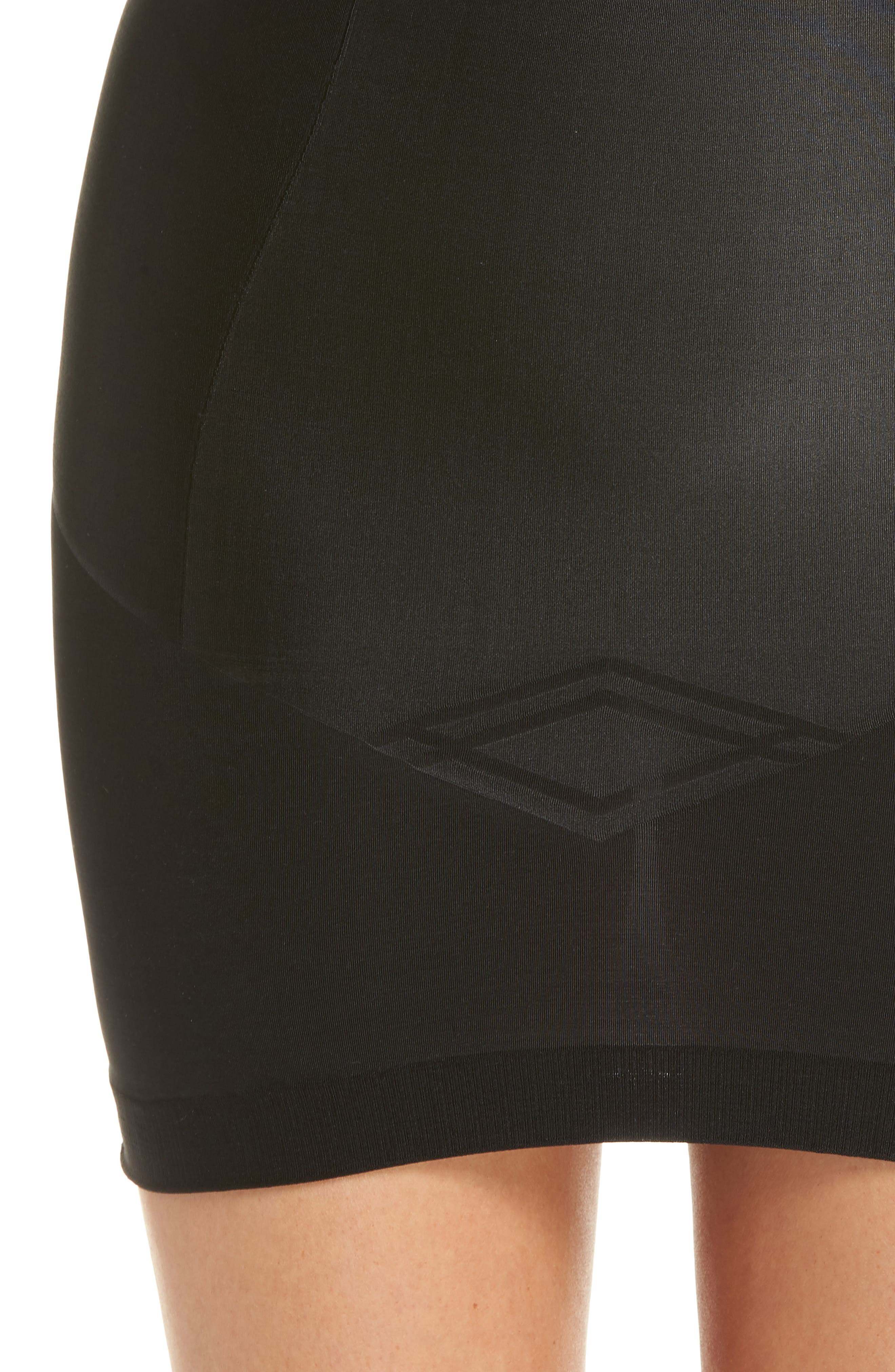 Nouveau Mid Waist Skirt with Built-In Thong,                             Alternate thumbnail 4, color,                             BLACK