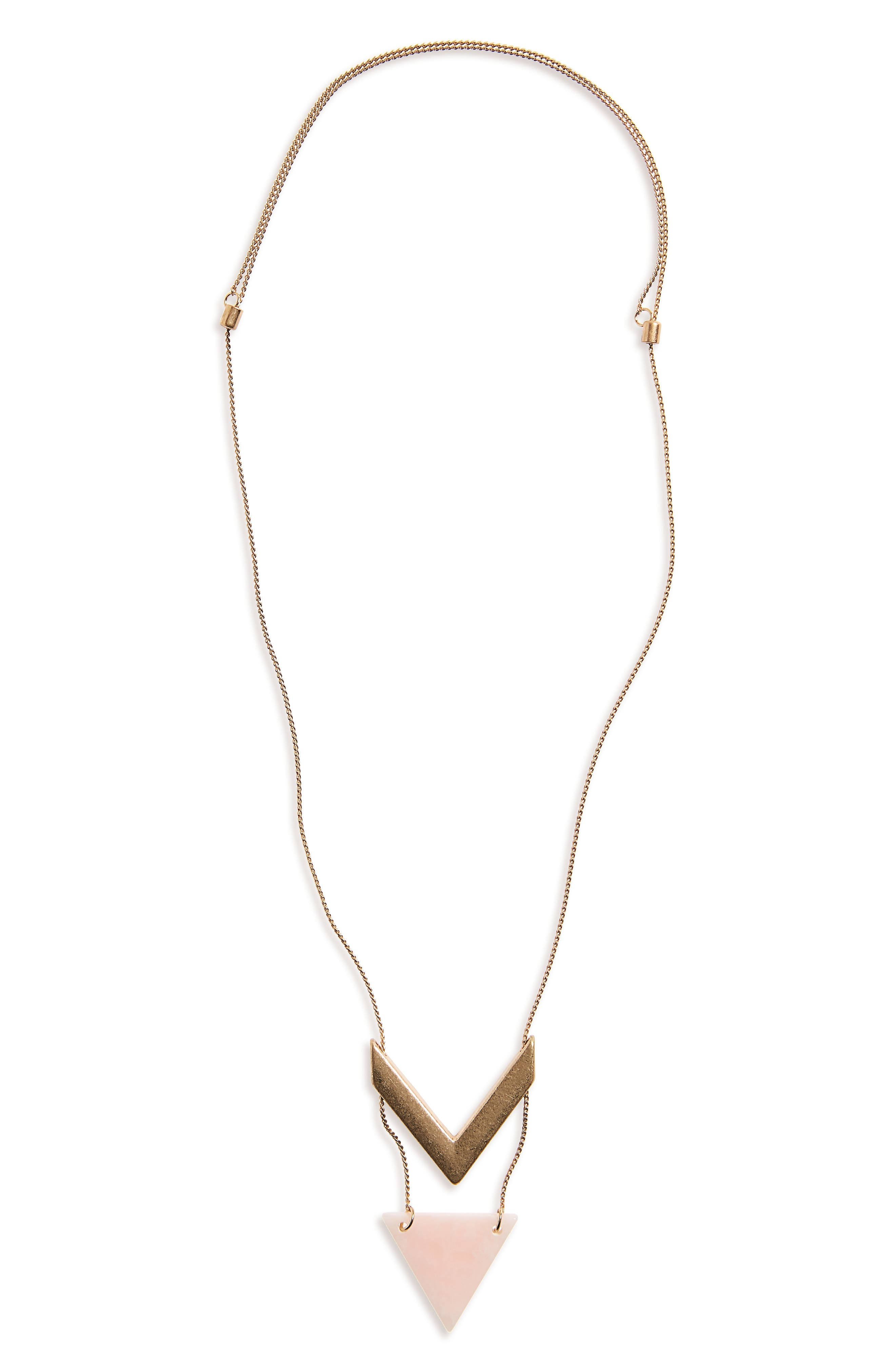 Stone Chevron Pendant Necklace,                             Main thumbnail 2, color,