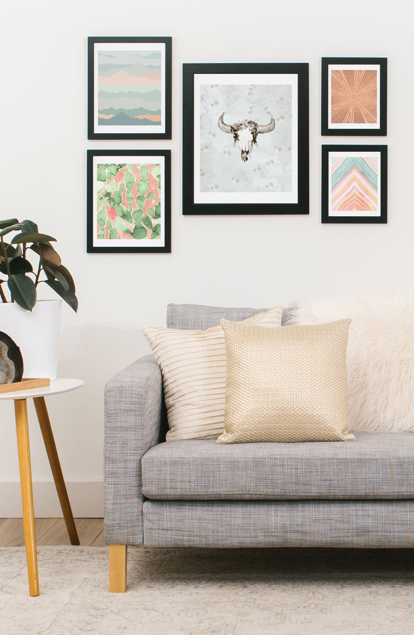 Desert Matcha Five-Piece Gallery Wall Art Print Set,                             Alternate thumbnail 2, color,                             BLUSH AND GREEN