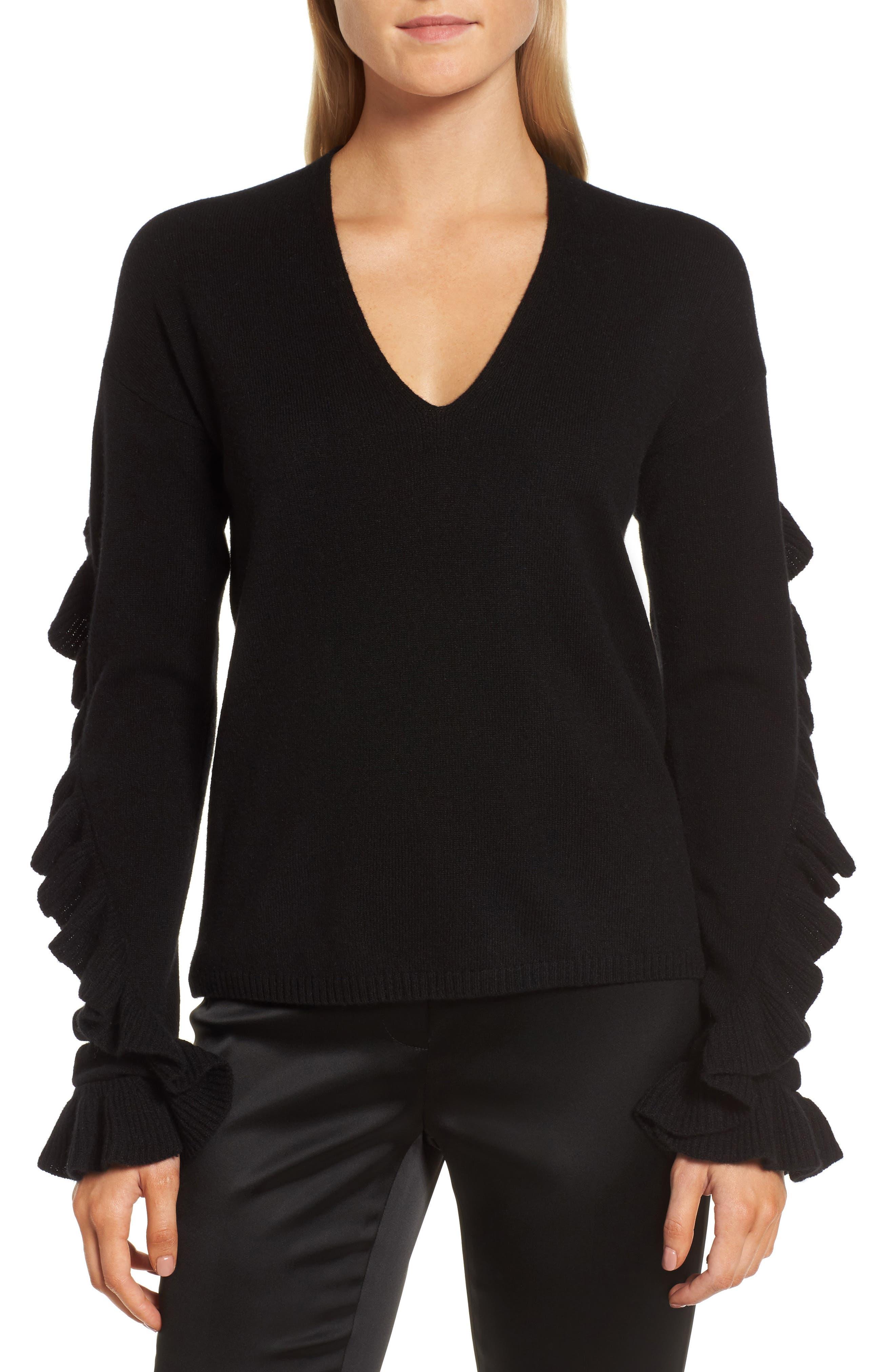 Ruffle Sleeve Cashmere Sweater,                             Main thumbnail 1, color,                             001