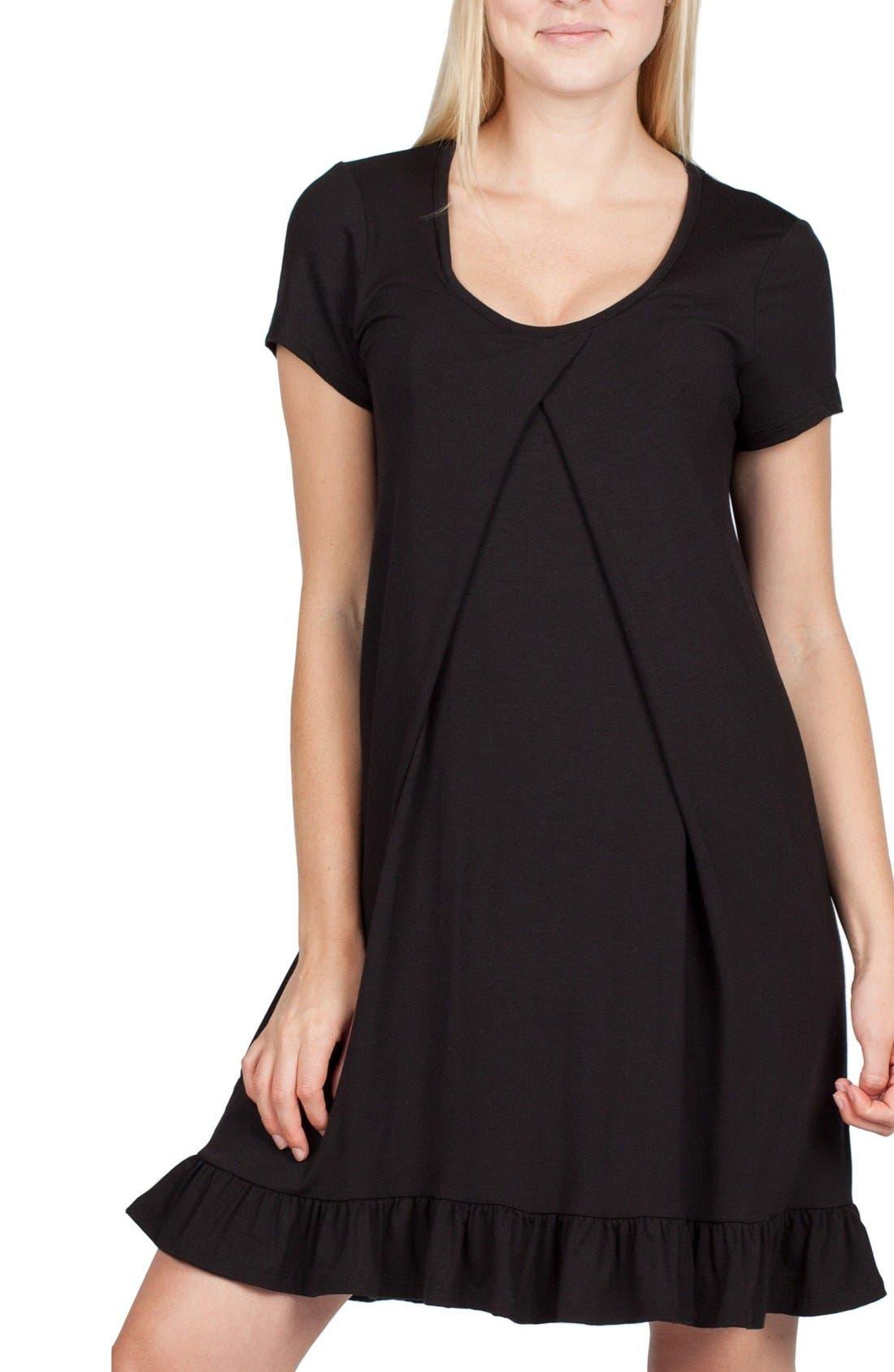 San Francisco Maternity/Nursing Nightgown,                         Main,                         color, BLACK