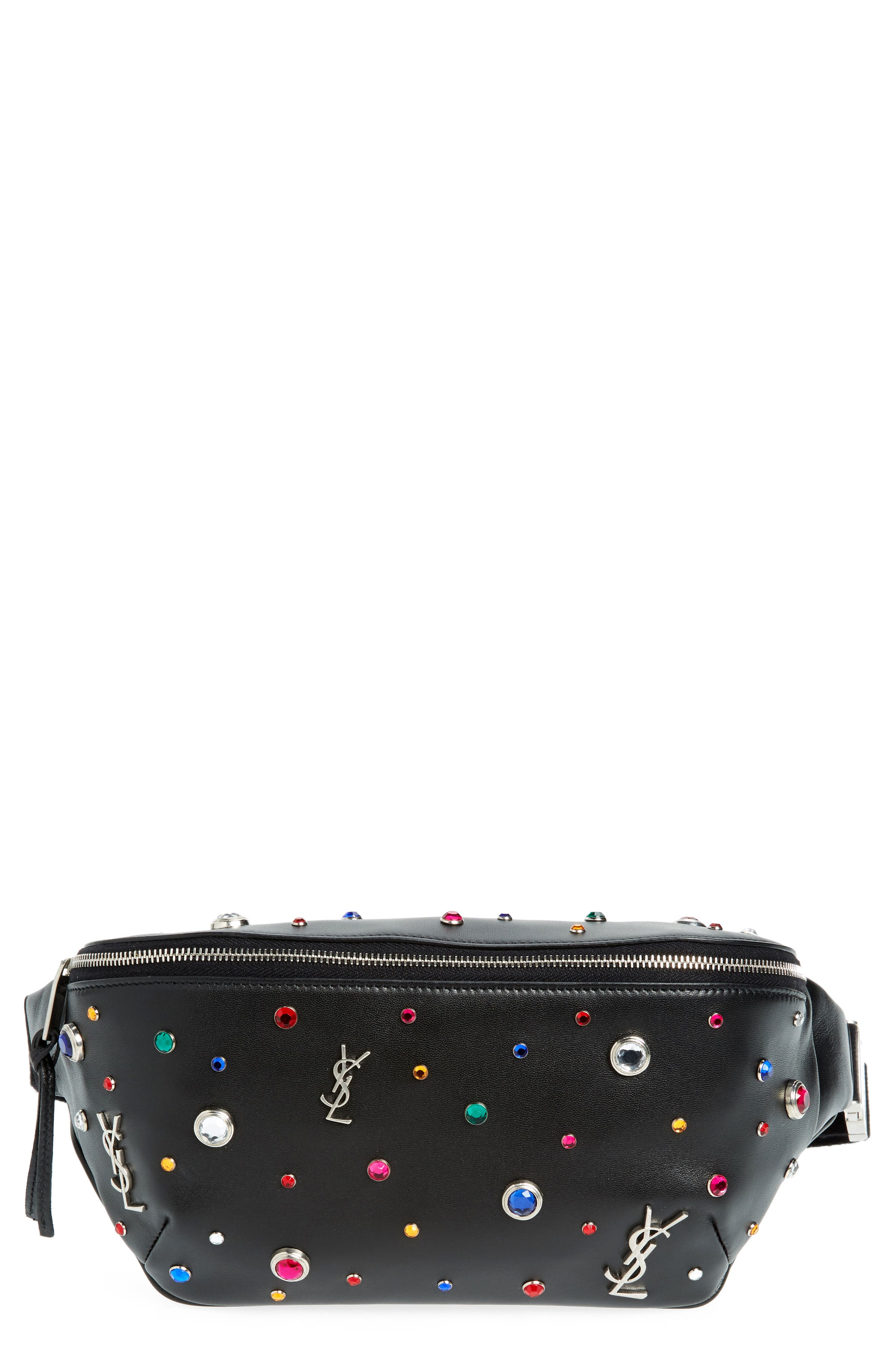 Monogram Studded Leather Belt Bag,                             Main thumbnail 1, color,                             NOIR MULTI