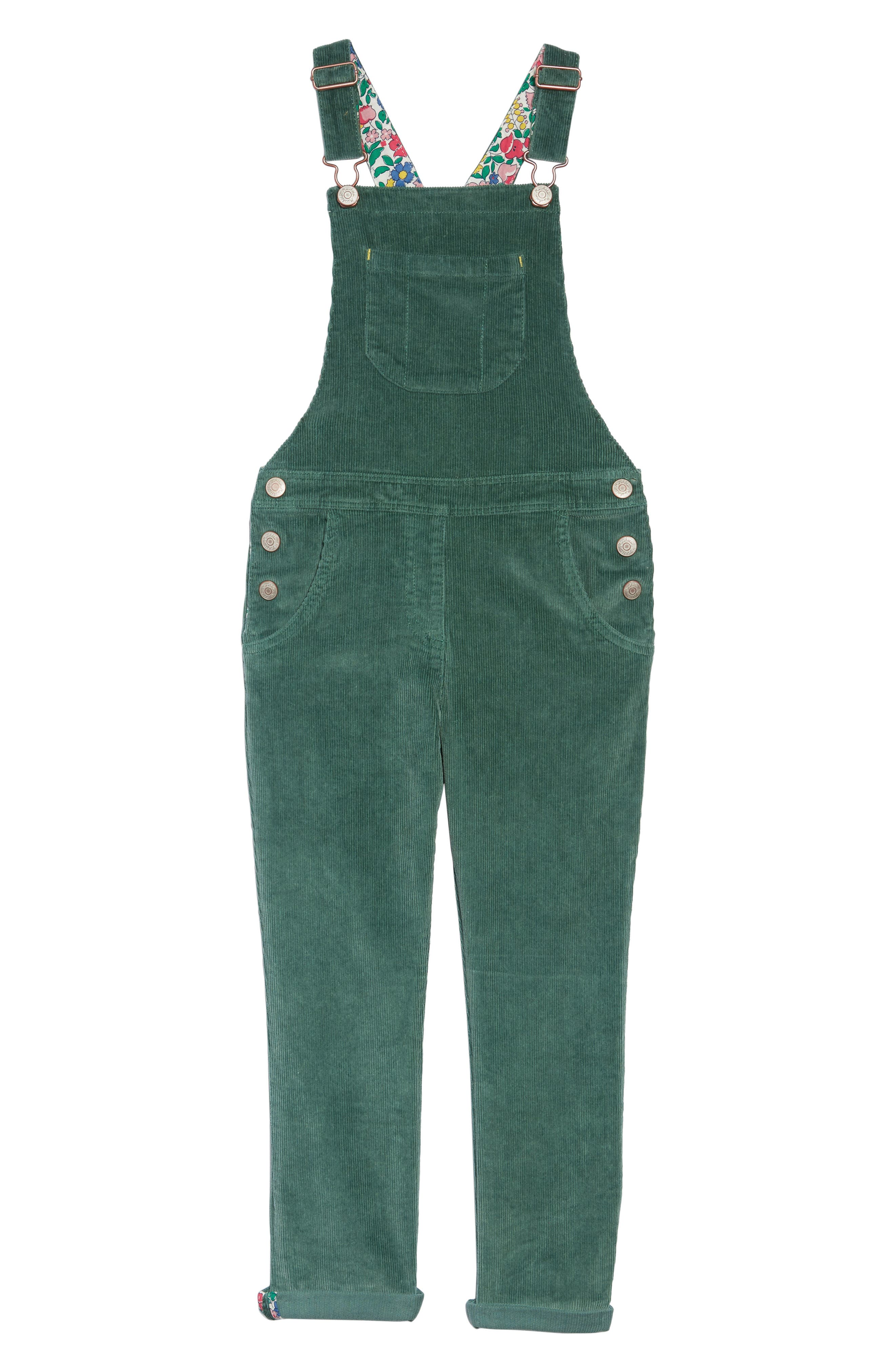 Embroidered Dungaree Overalls,                             Main thumbnail 1, color,                             WILLOW GREEN