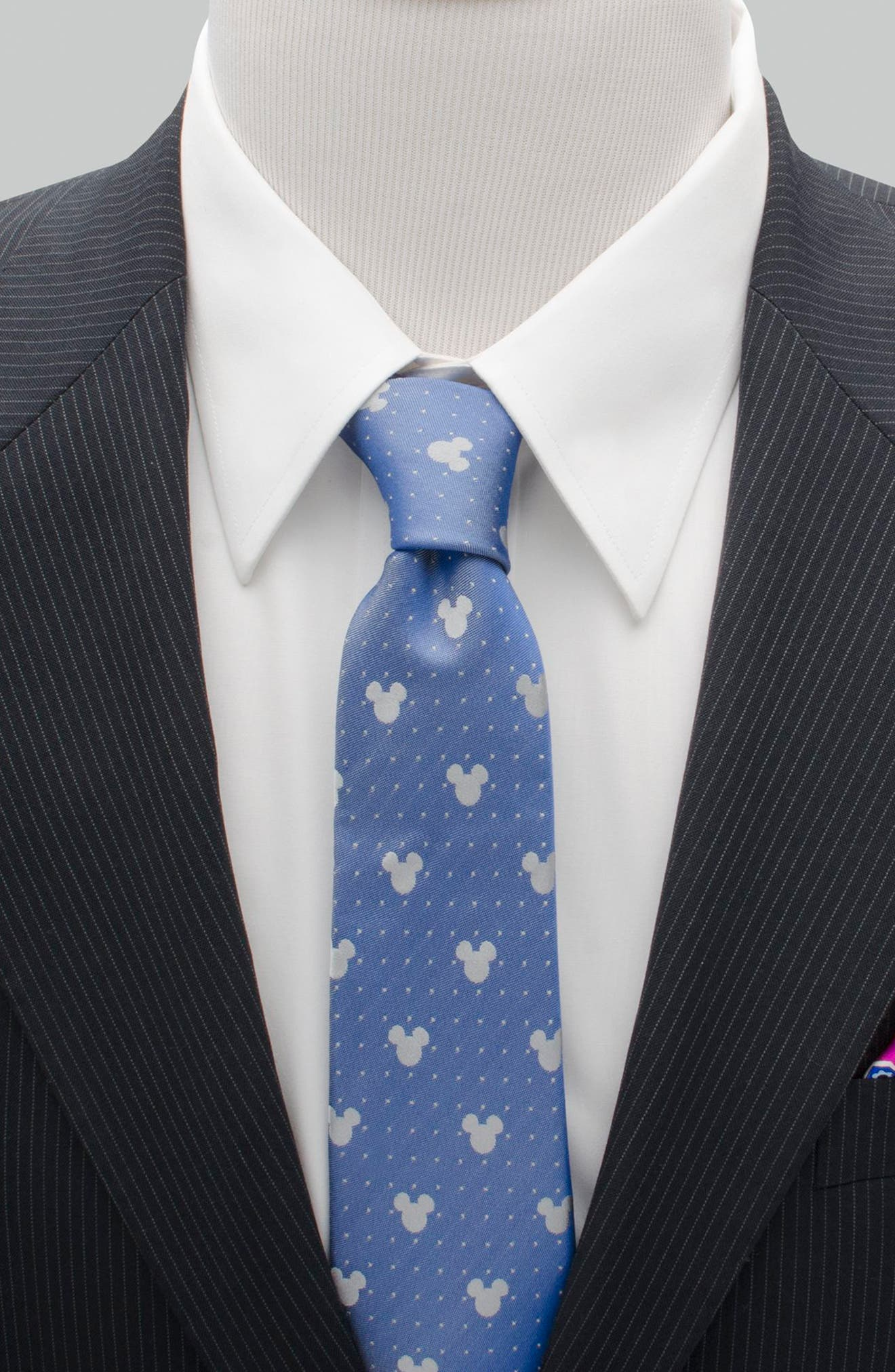 Mickey Mouse Pin Dot Silk Tie,                             Alternate thumbnail 2, color,                             BLUE/ GREY