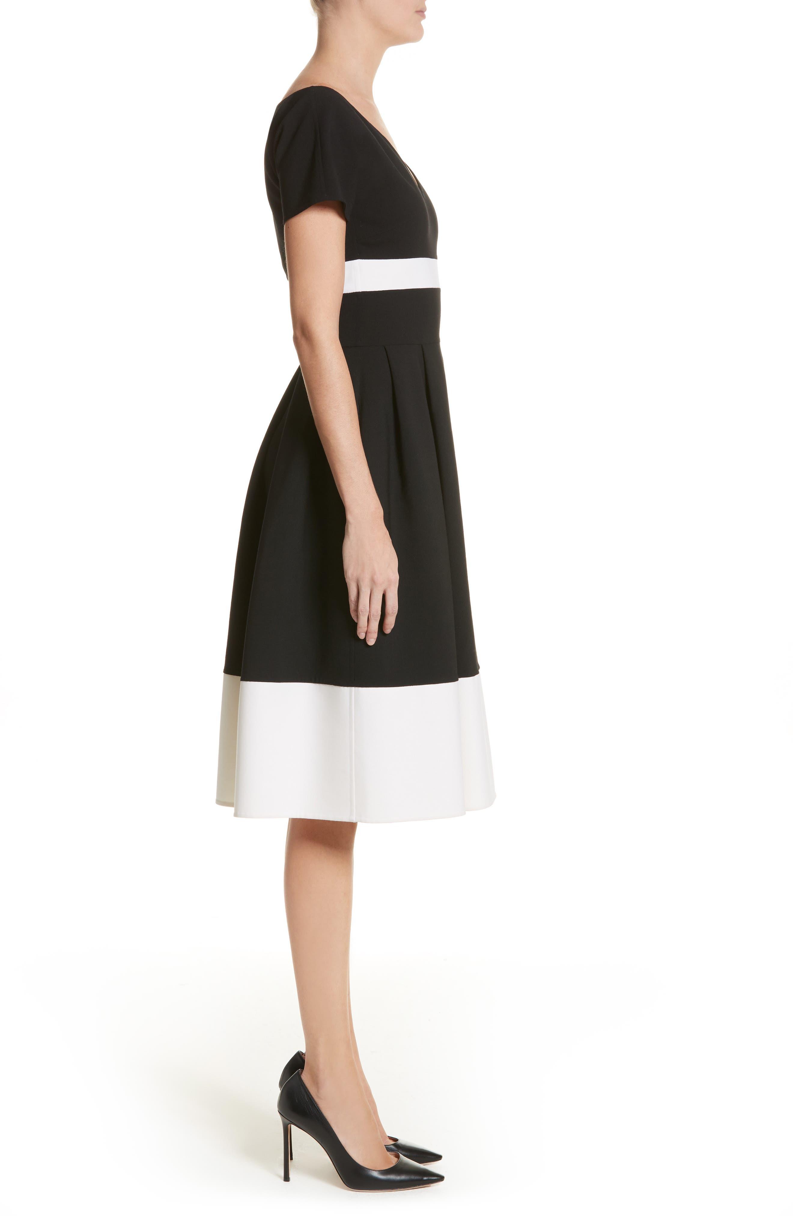 Colorblock Cap Sleeve Dress,                             Alternate thumbnail 3, color,                             001