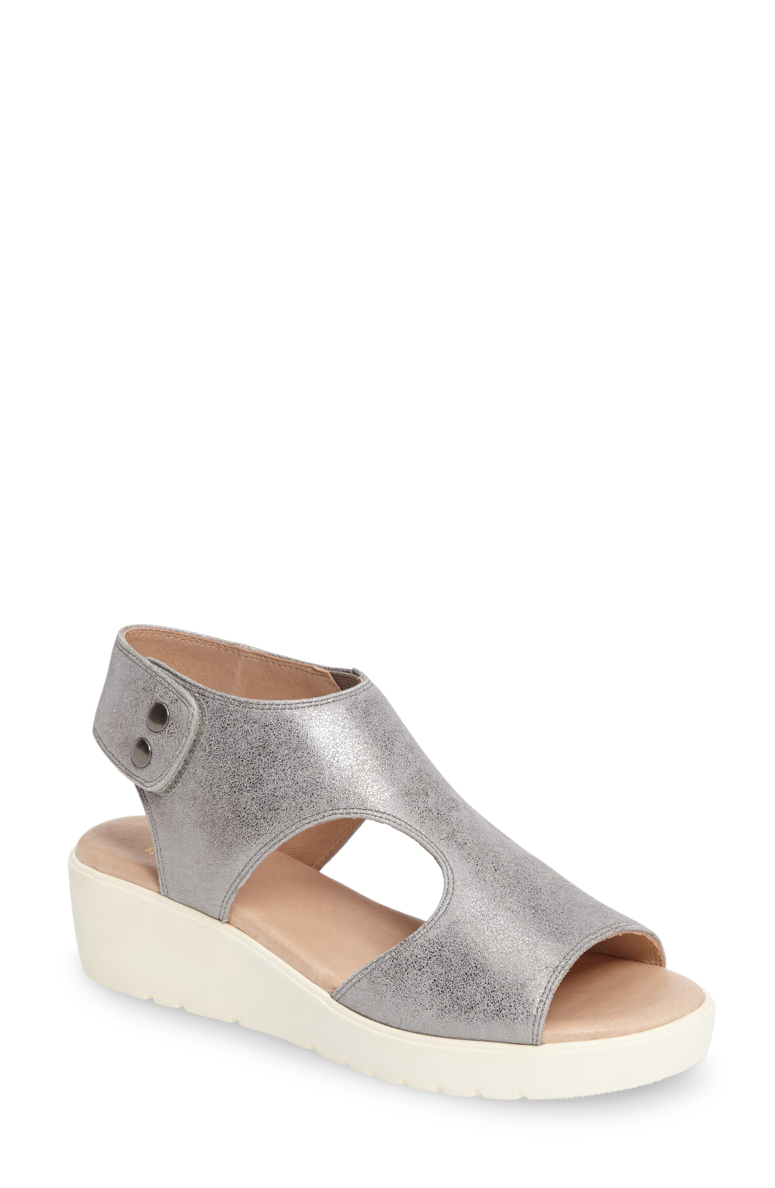 Camilla Slingback Wedge Sandal,                             Main thumbnail 1, color,                             SILVER METALLIC SUEDE