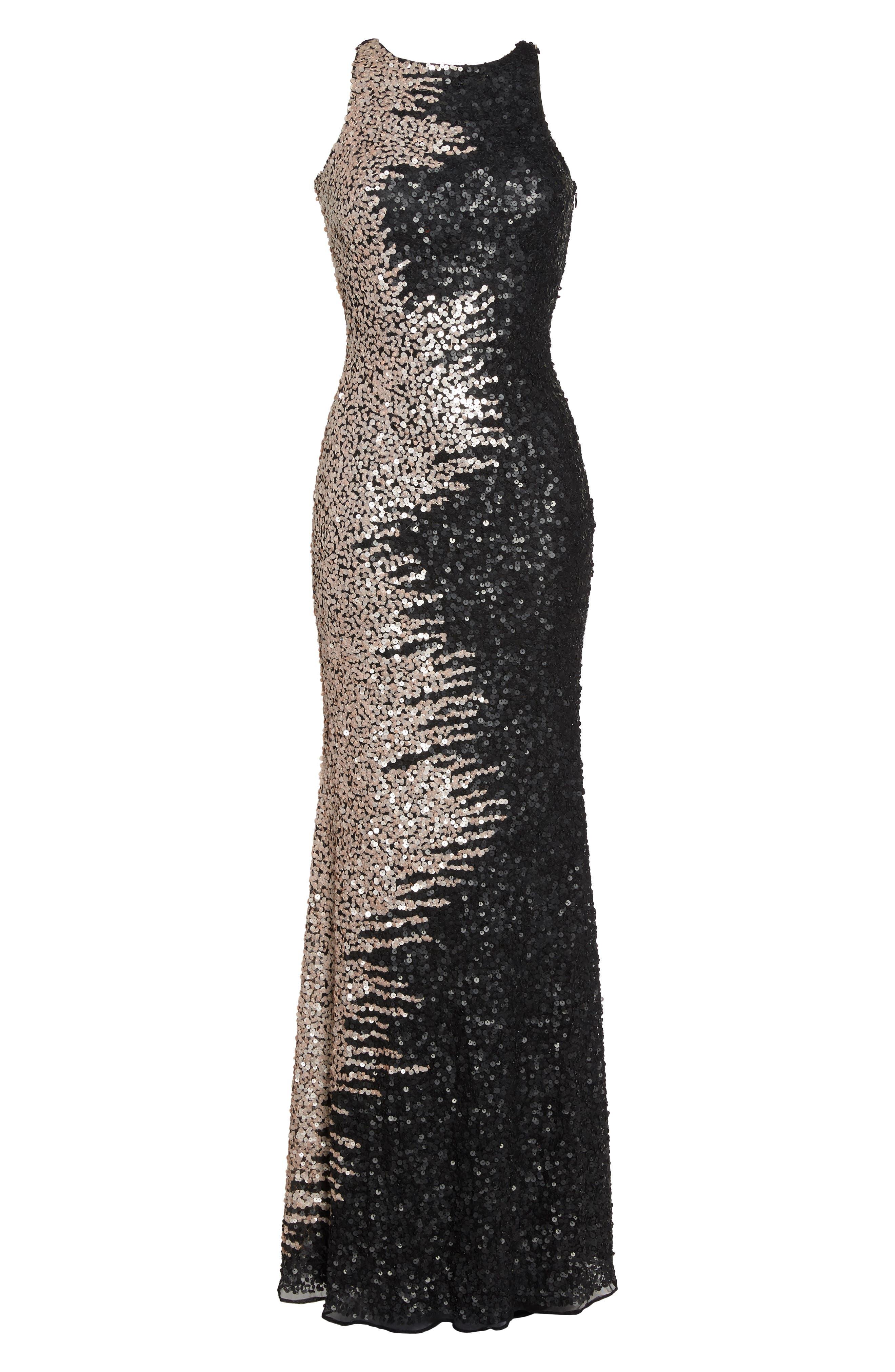 Cowl Back Sequin Gown,                             Alternate thumbnail 6, color,