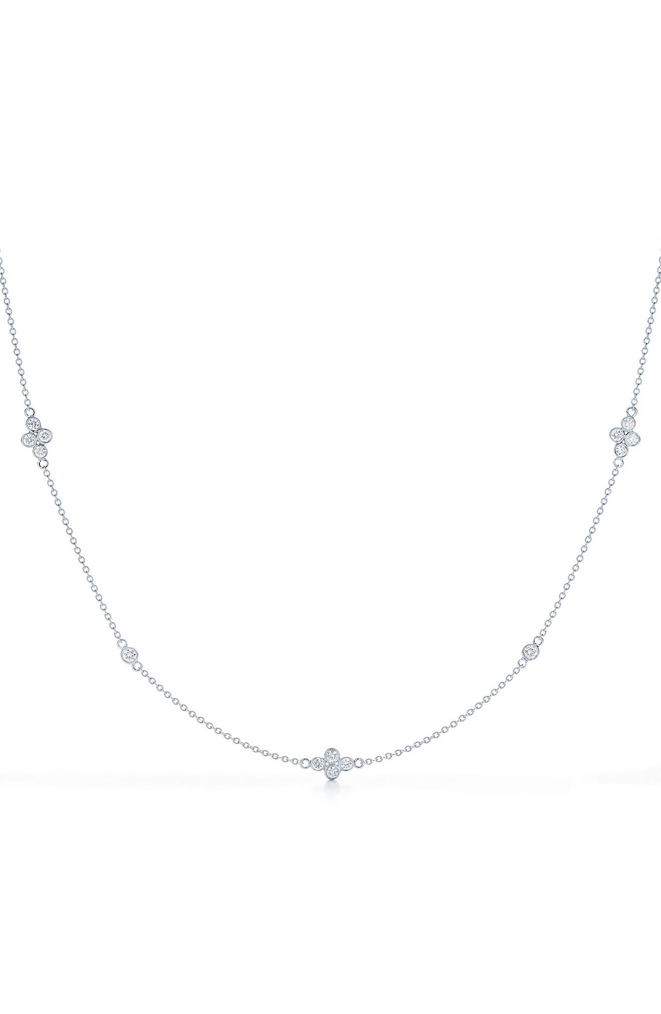 Quad Diamond String Necklace,                             Main thumbnail 1, color,                             WHITE GOLD