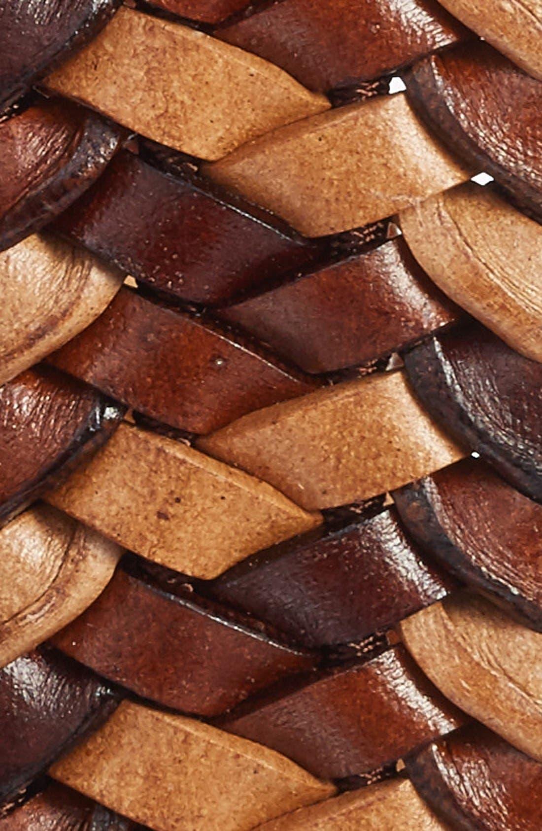 Woven Leather Belt,                             Alternate thumbnail 3, color,                             COGNAC
