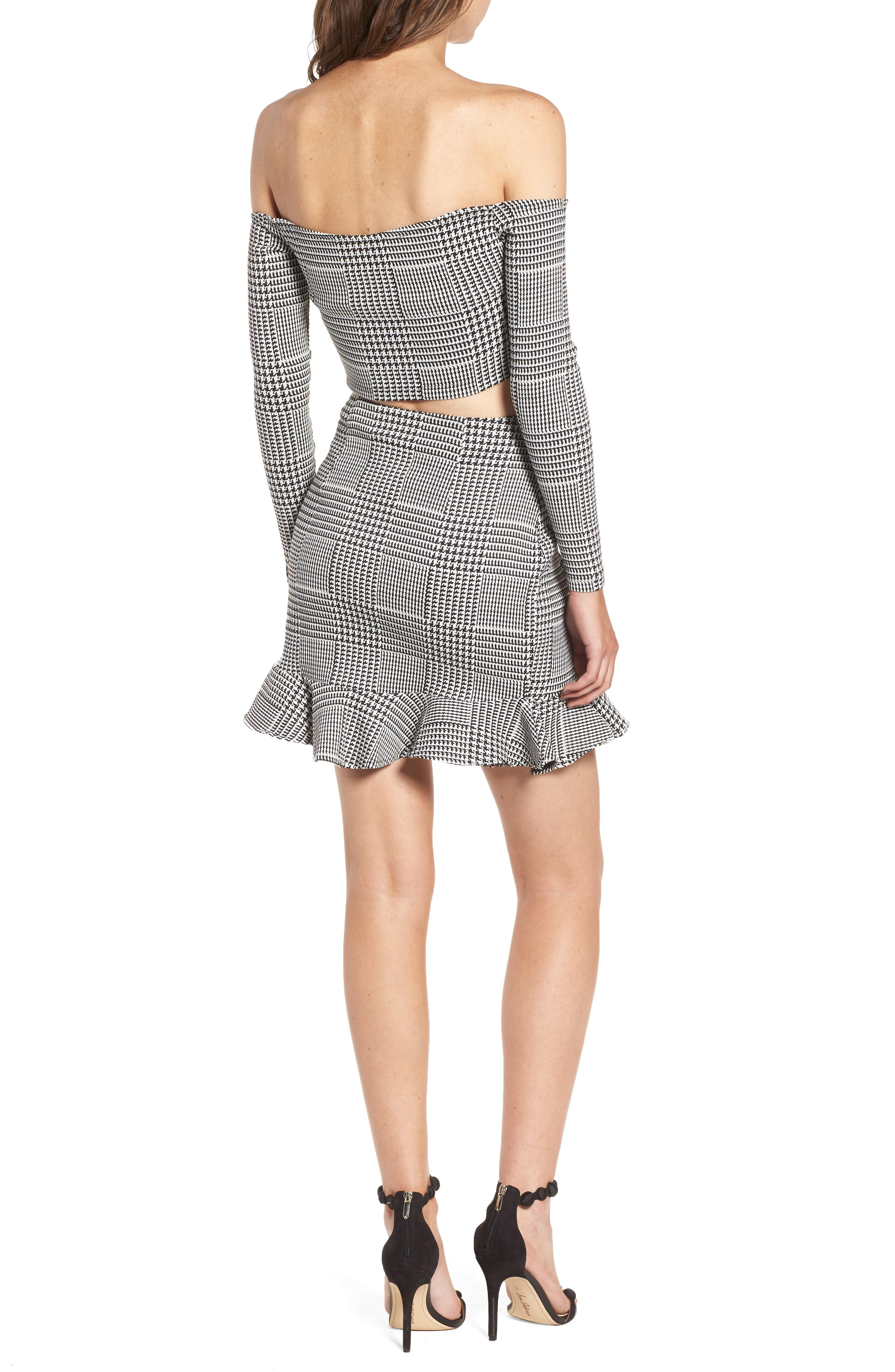 Affection Ruffle Houndstooth Skirt,                             Alternate thumbnail 8, color,                             020