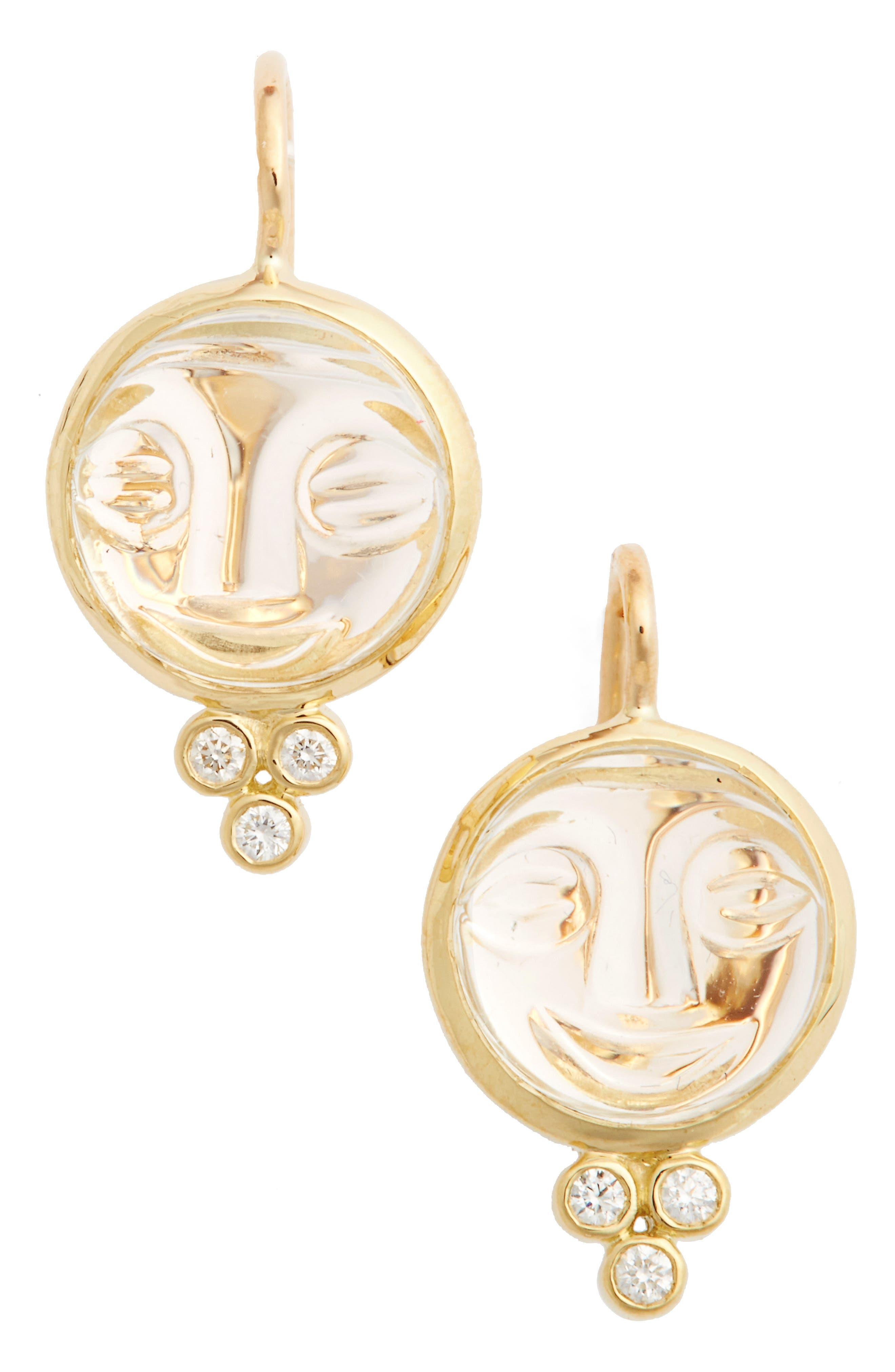 TEMPLE ST CLAIR,                             Temple St. Clair Moonface Diamond & Rock Crystal Earrings,                             Main thumbnail 1, color,                             YELLOW GOLD/ CRYSTAL