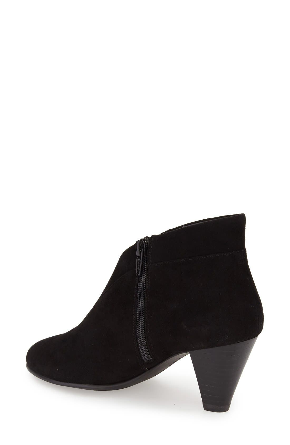 'Natalie' V-Cut Zip Bootie,                             Alternate thumbnail 3, color,                             BLACK SUEDE