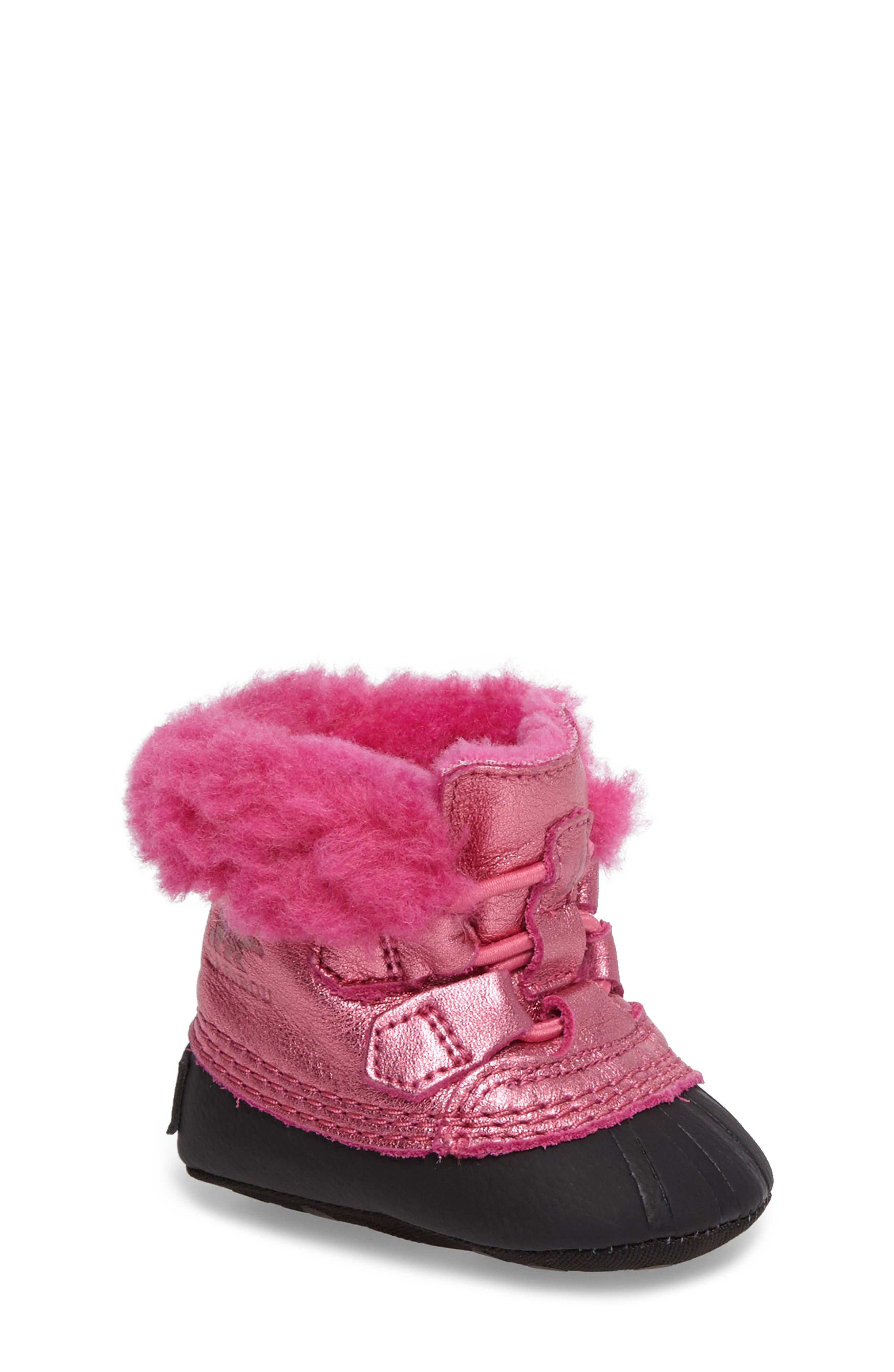 Caribootie Genuine Shearling Crib Shoe,                             Main thumbnail 5, color,