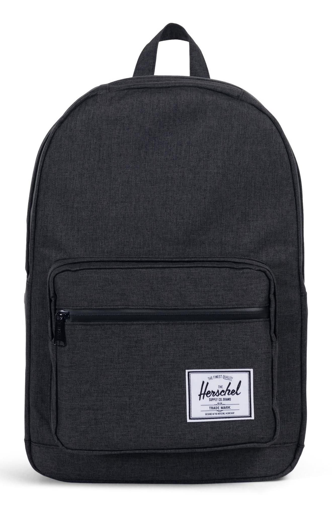 'Pop Quiz' Backpack,                         Main,                         color, BLACK CROSSHATCH/ BLACK RUBBER