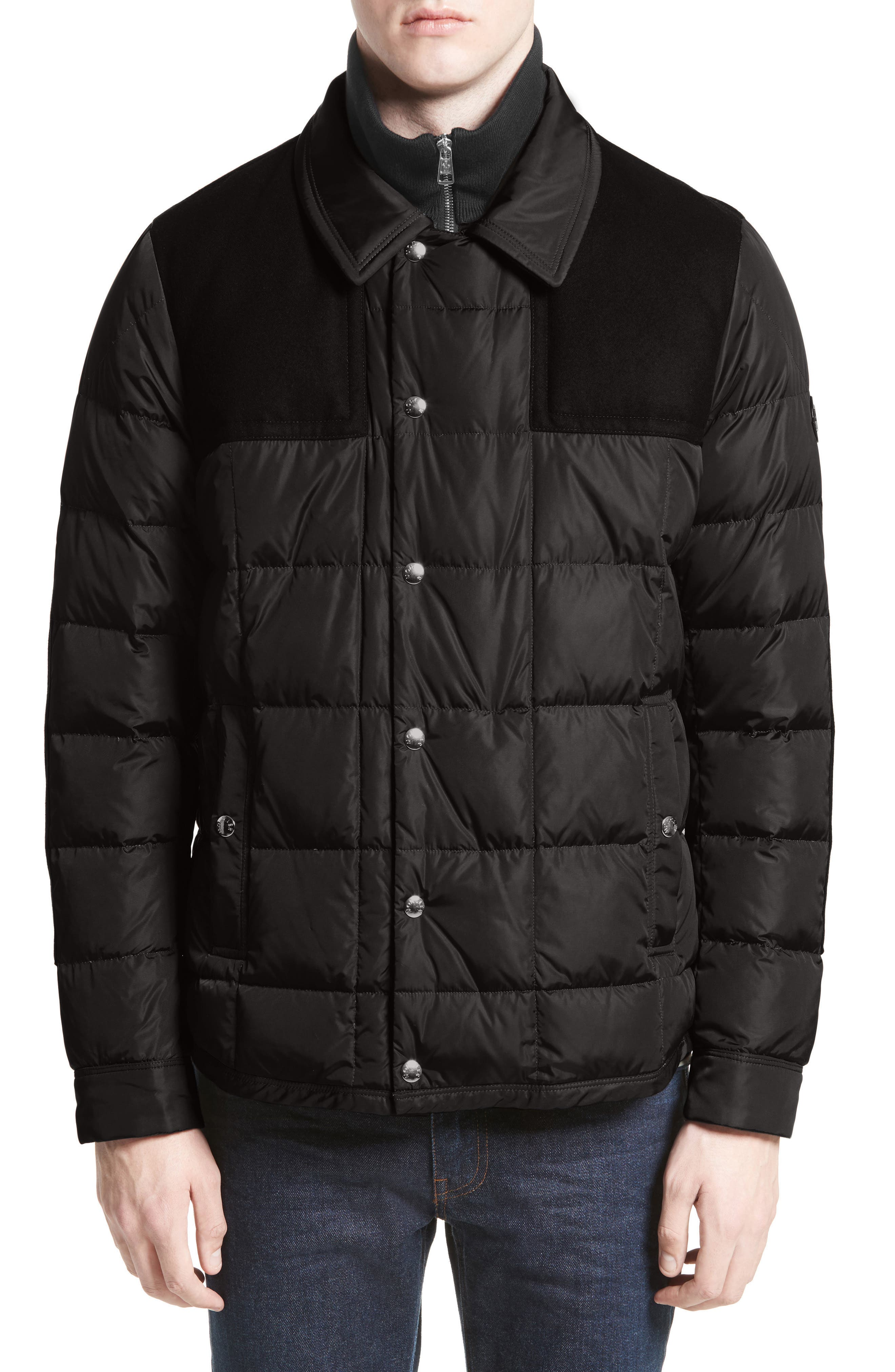 Clovis Mixed Media Quilted Down Jacket,                             Alternate thumbnail 4, color,                             001