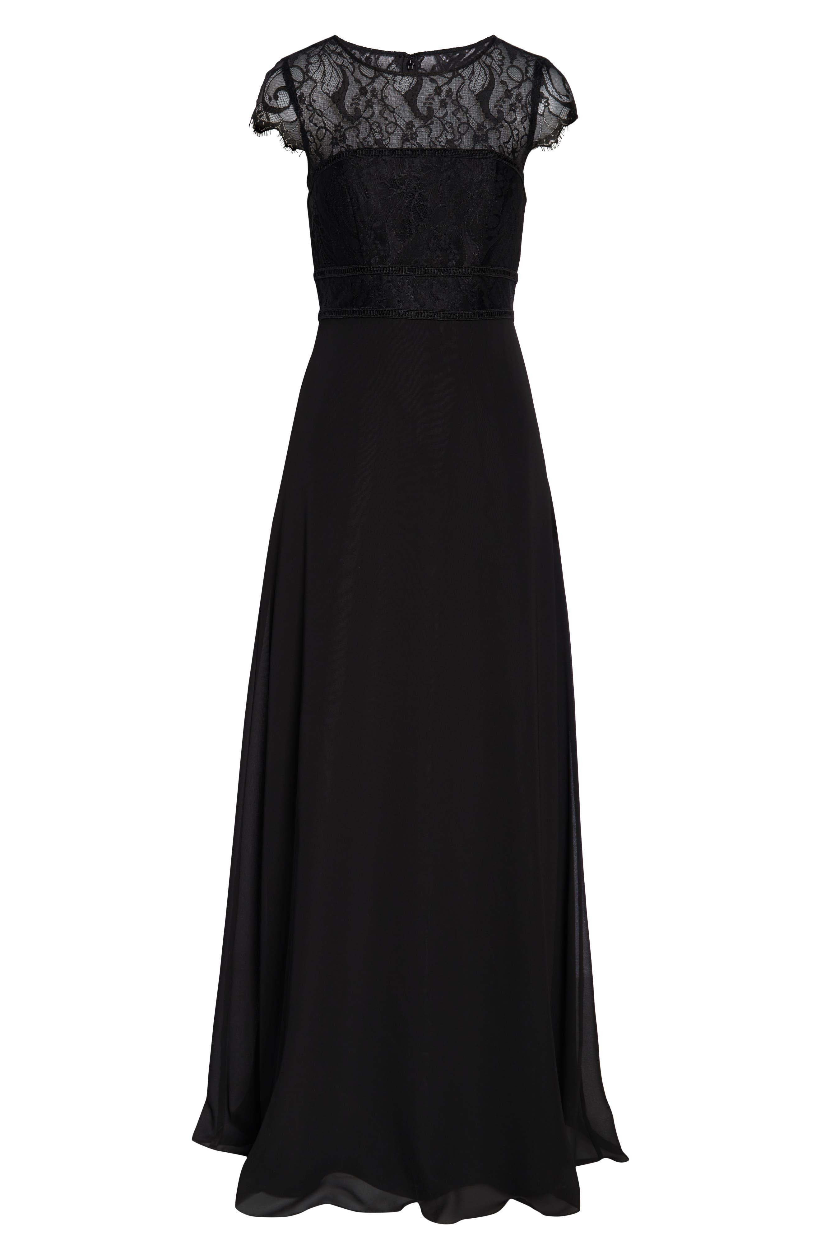 HAYLEY PAIGE OCCASIONS,                             Lace Bodice Chiffon Evening Dress,                             Alternate thumbnail 7, color,                             BLACK / BLACK