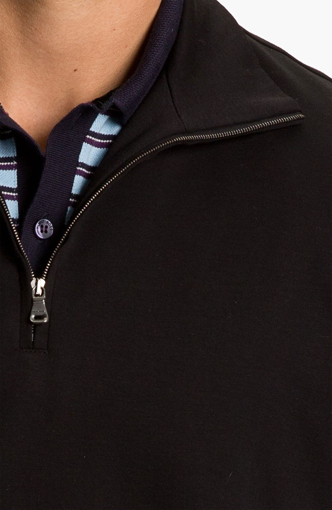Black 'Padua' Quarter Zip Pullover,                             Alternate thumbnail 3, color,                             001